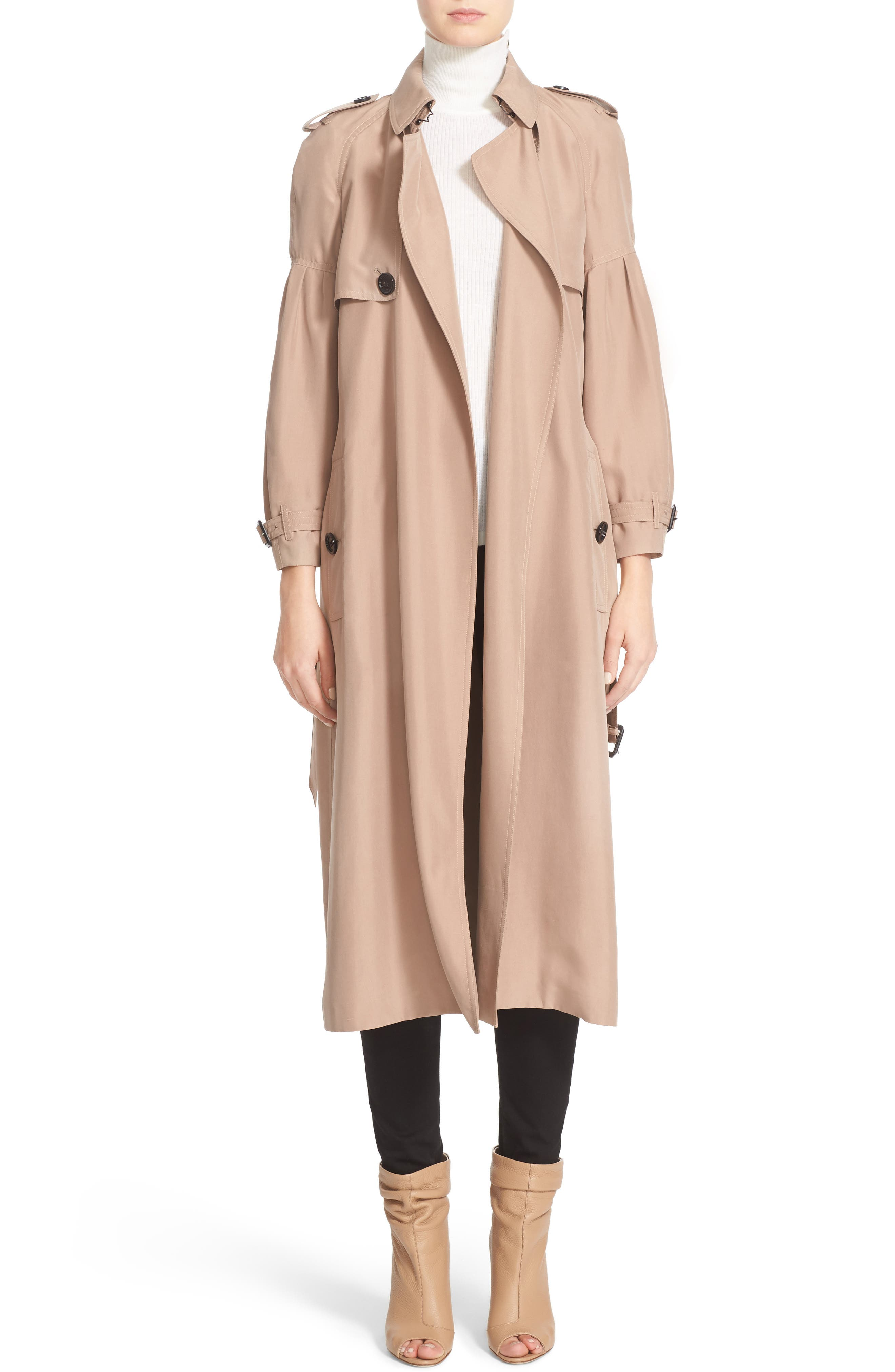 BURBERRY, Maythorne Mulberry Silk Trench, Main thumbnail 1, color, 250