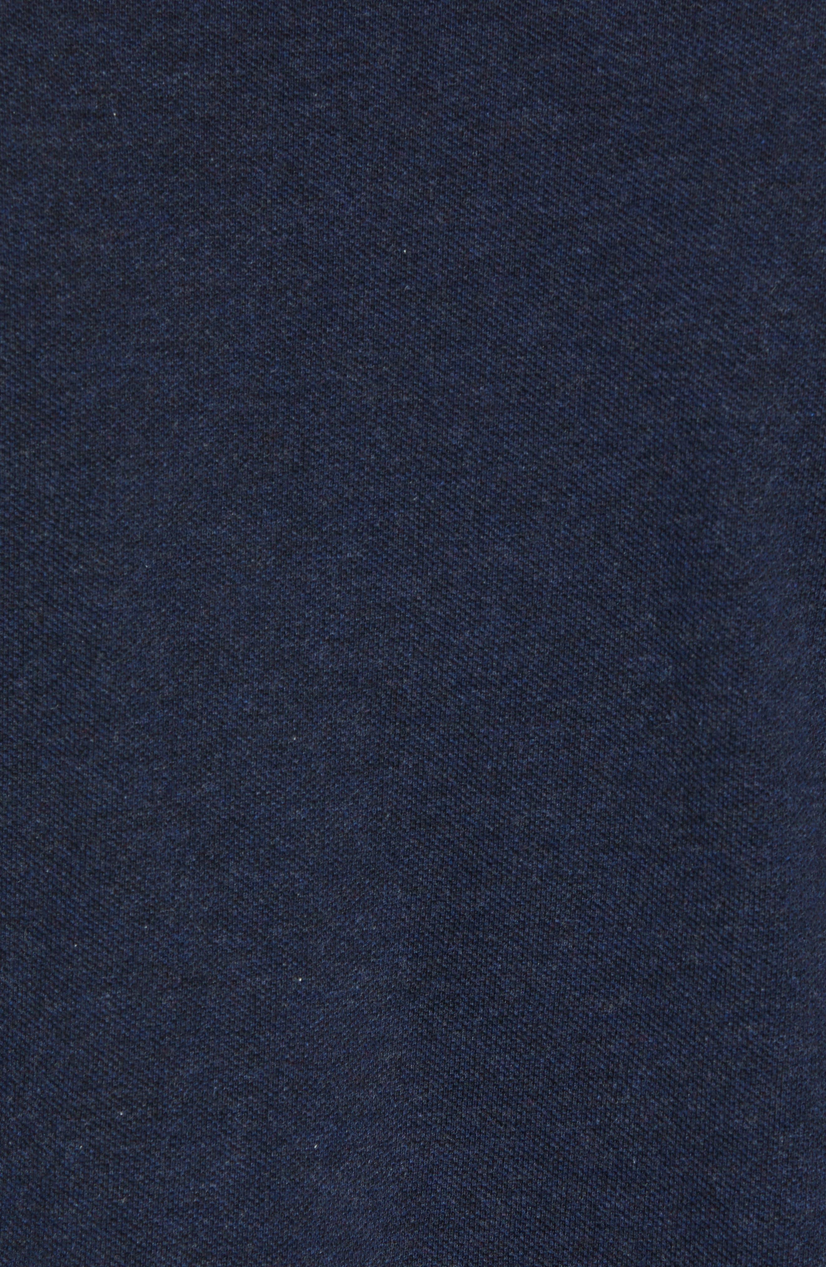 LACOSTE, Long Sleeve Piqué Polo, Alternate thumbnail 5, color, ECLIPSE BLUE CHINE