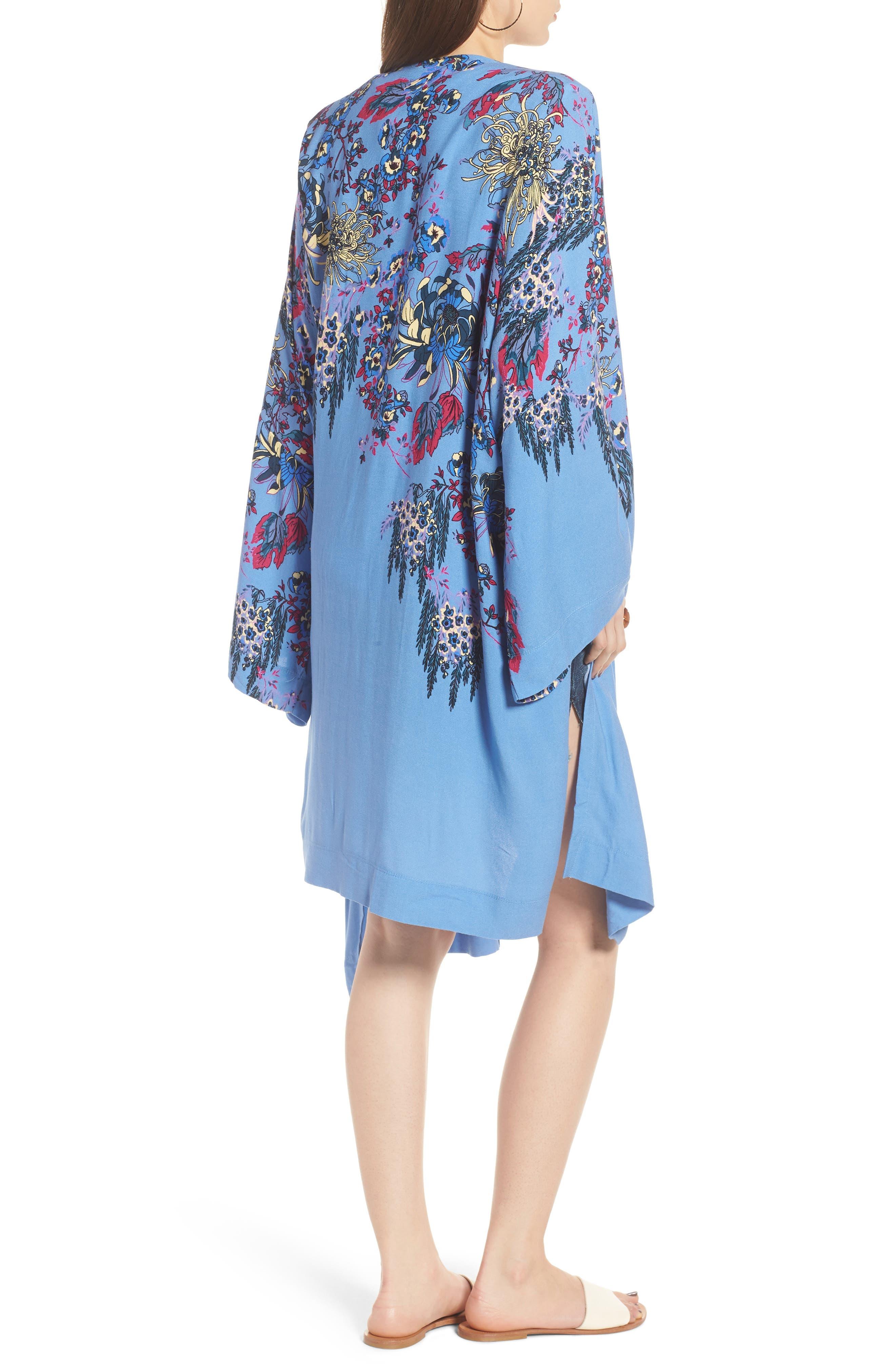 FREE PEOPLE, Dont Know Kimono, Alternate thumbnail 2, color, BLUE COMBO