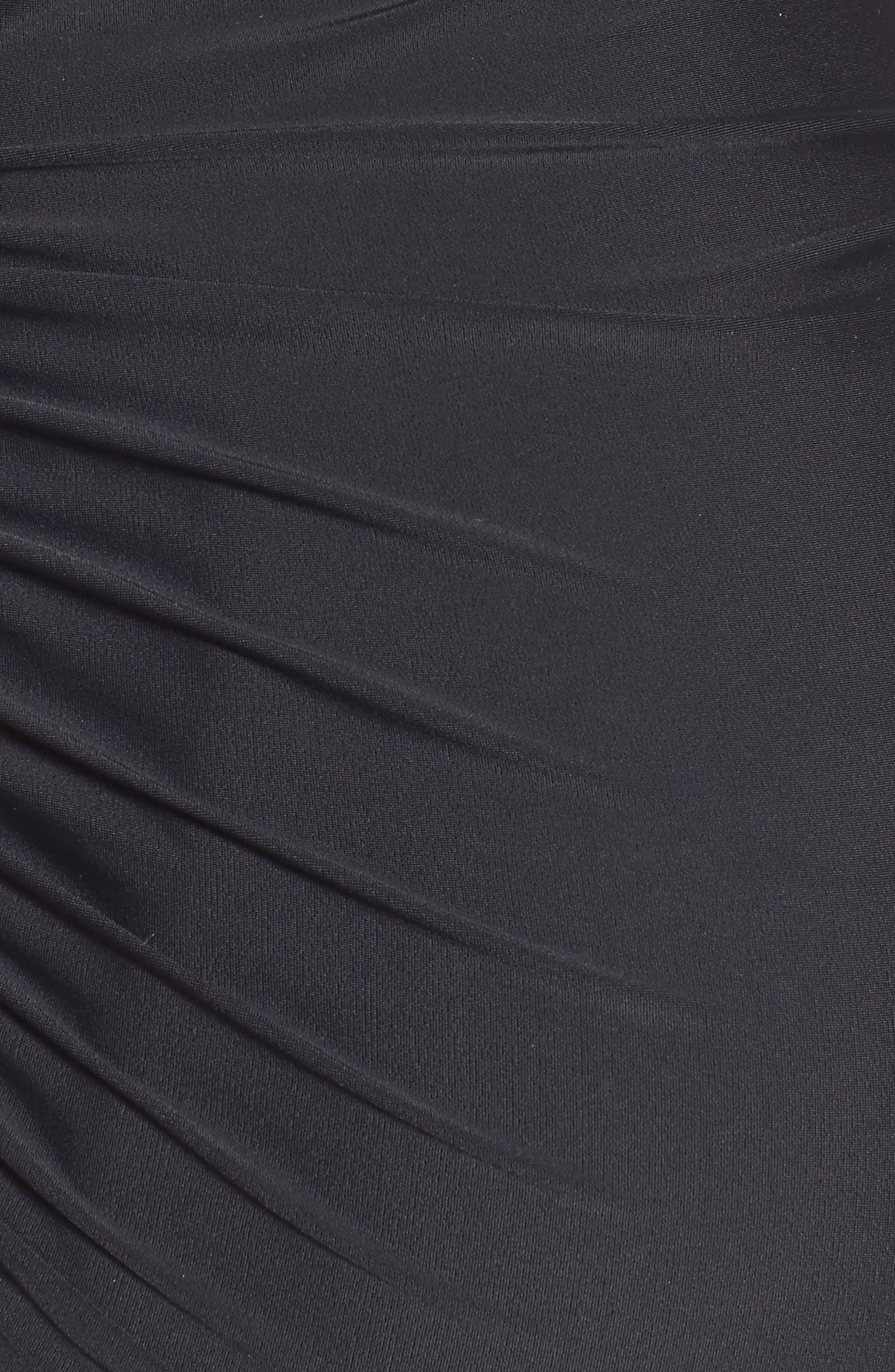 MATERNAL AMERICA, Ruched Maternity Tankini Swimsuit, Alternate thumbnail 6, color, BLACK