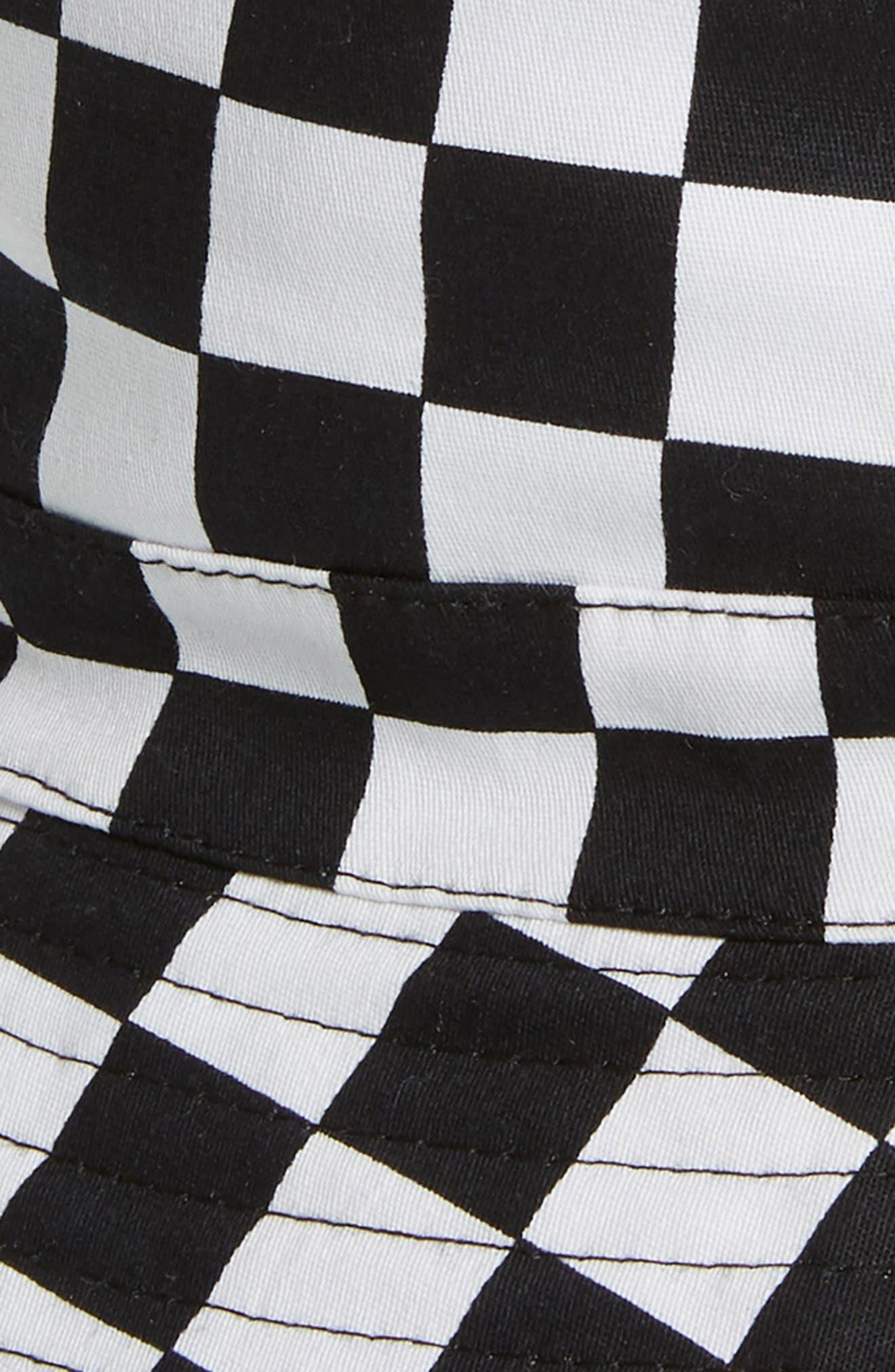 THE RAIL, Rio Reversible Bucket Hat, Alternate thumbnail 2, color, BLACK WHITE CHECK/ BLACK