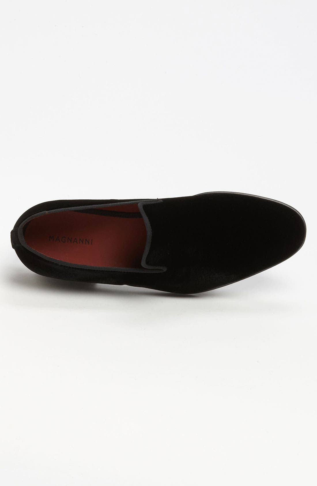 MAGNANNI, 'Dorio' Velvet Venetian Loafer, Alternate thumbnail 6, color, BLACK