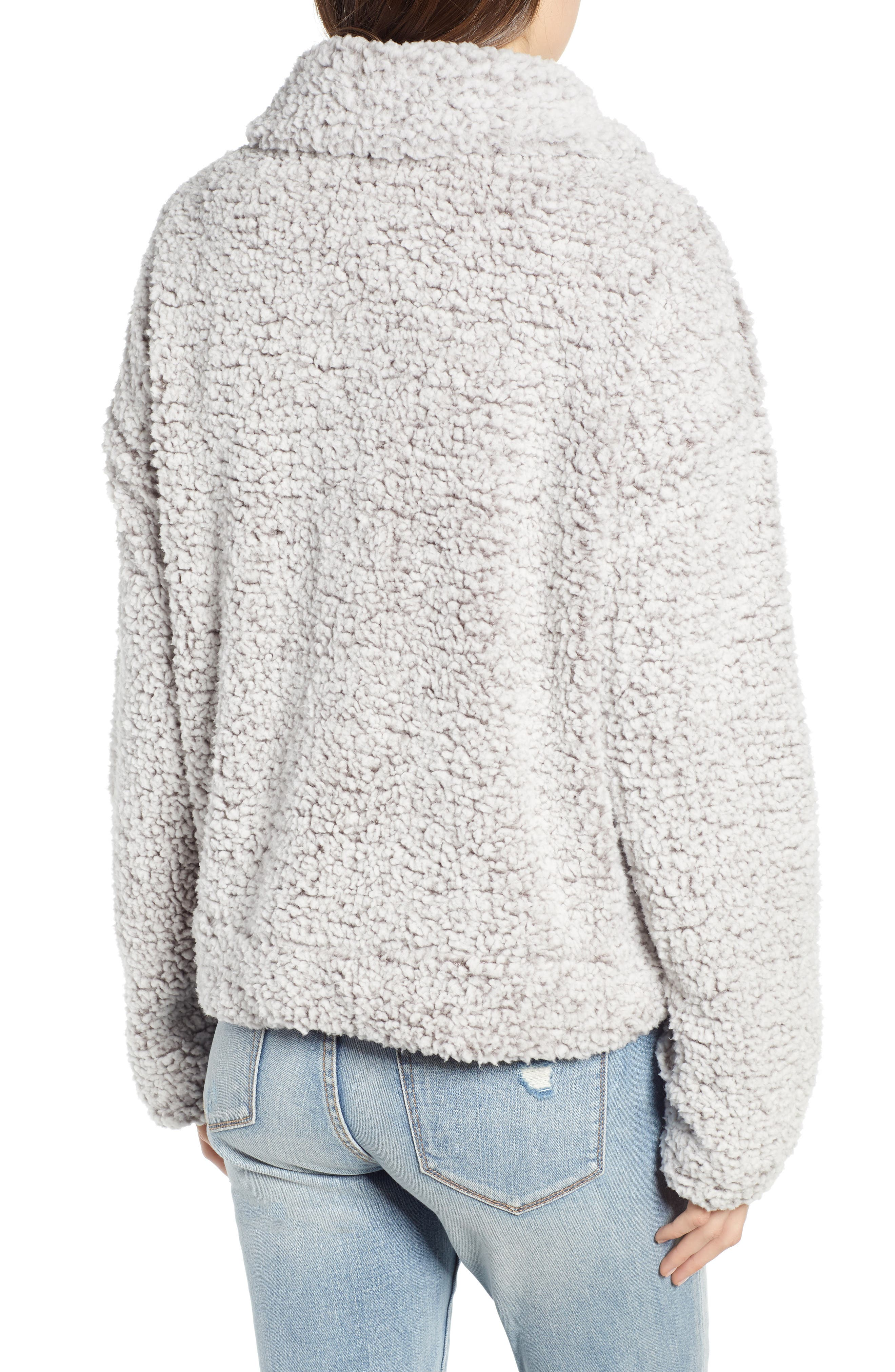 THREAD & SUPPLY, Quarter Zip Fleece Pullover, Alternate thumbnail 2, color, SILVER
