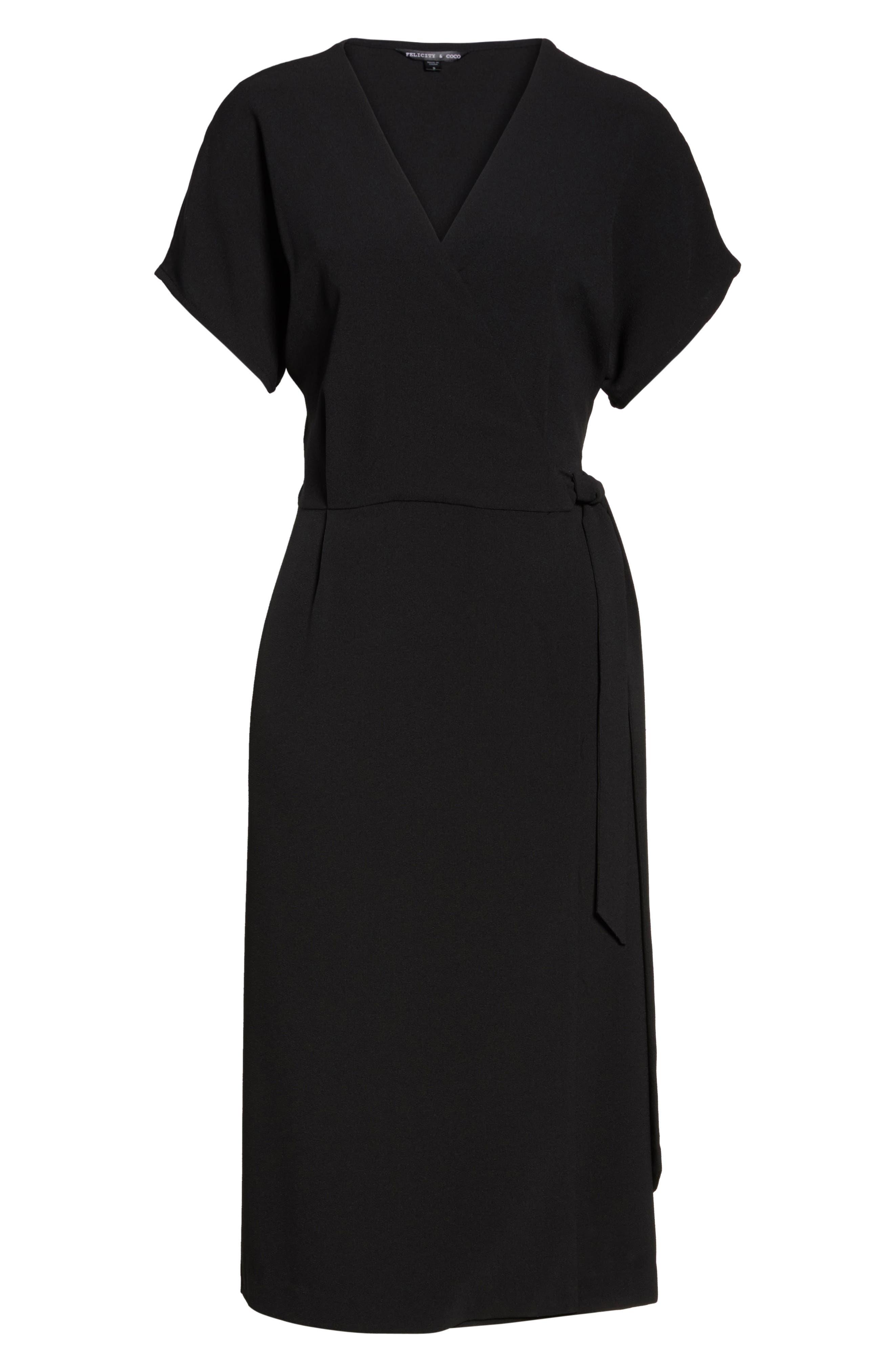 FELICITY & COCO, Rita Wrap Dress, Alternate thumbnail 8, color, BLACK