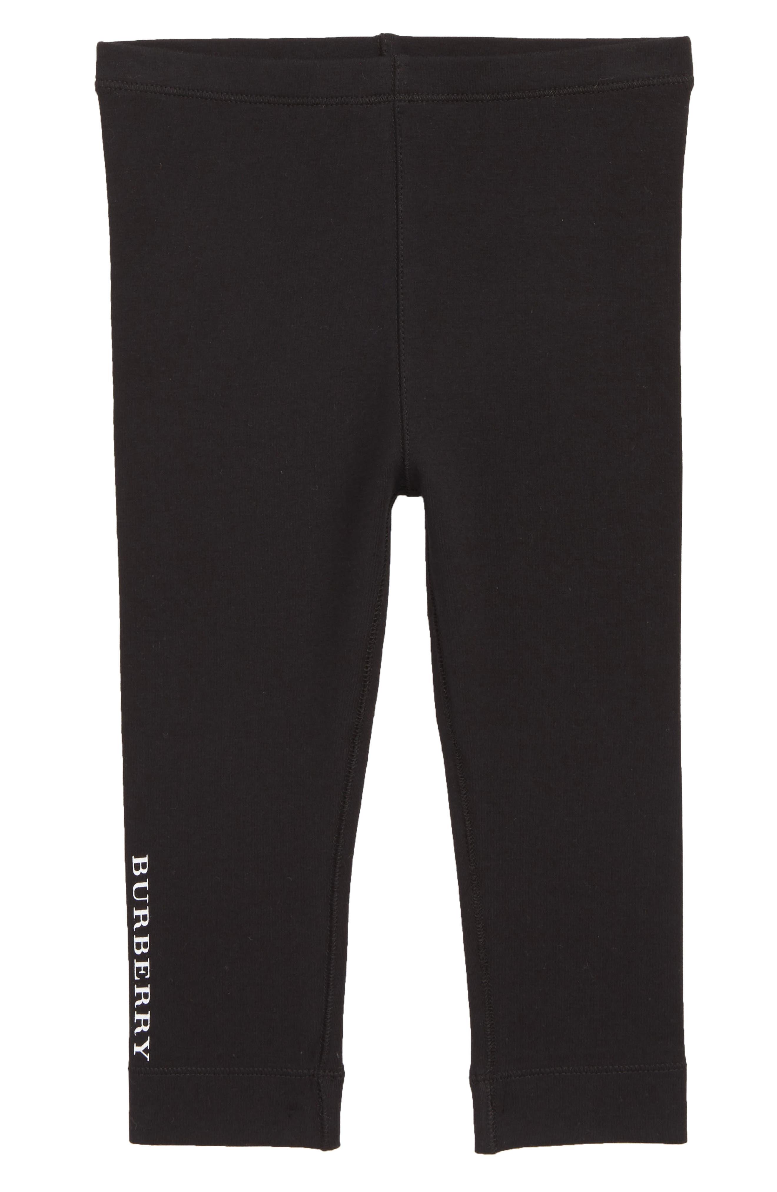 BURBERRY Penny Logo Leggings, Main, color, BLACK