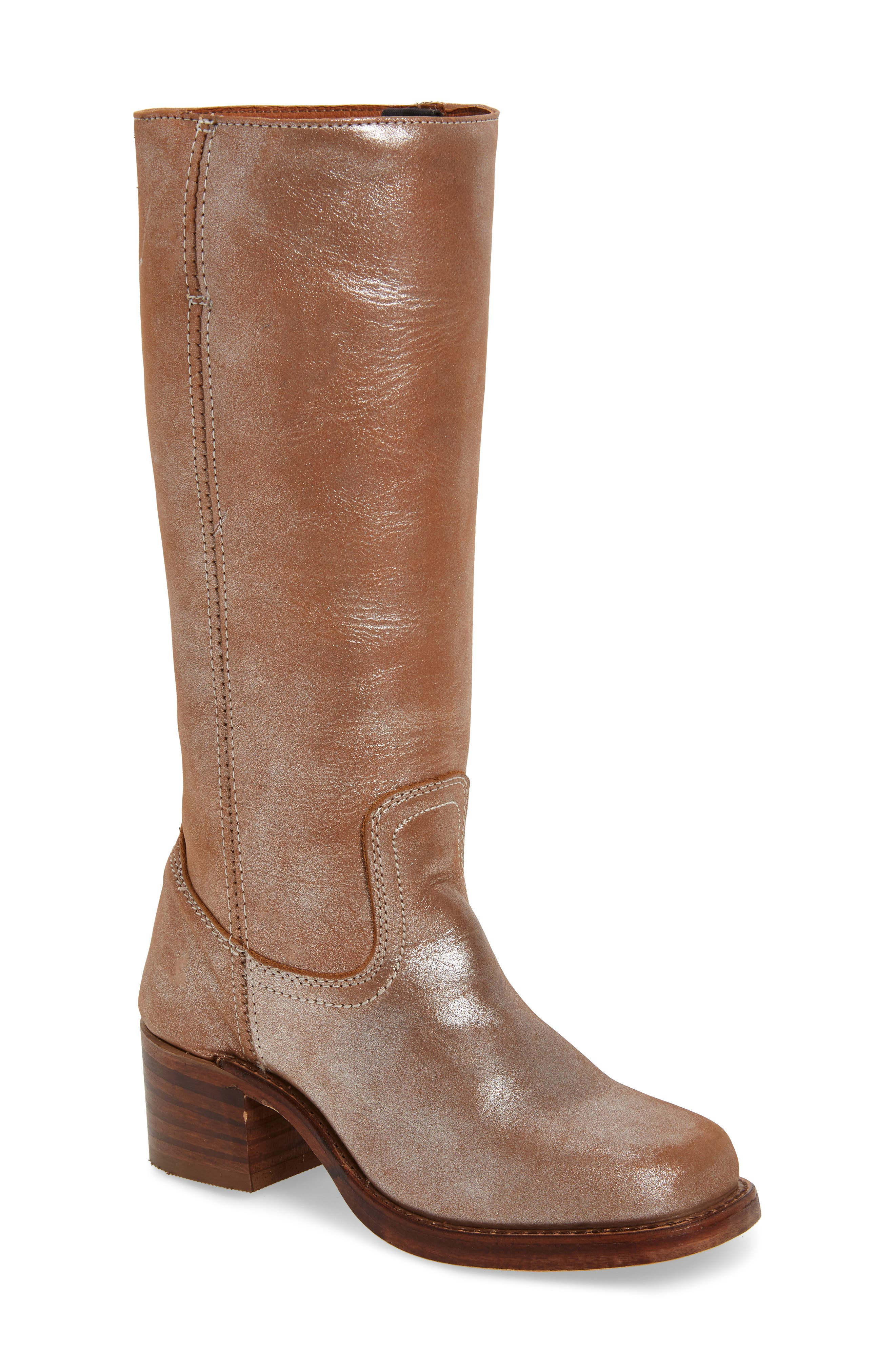 FRYE, 'Campus 14L' Boot, Main thumbnail 1, color, SILVER LEATHER