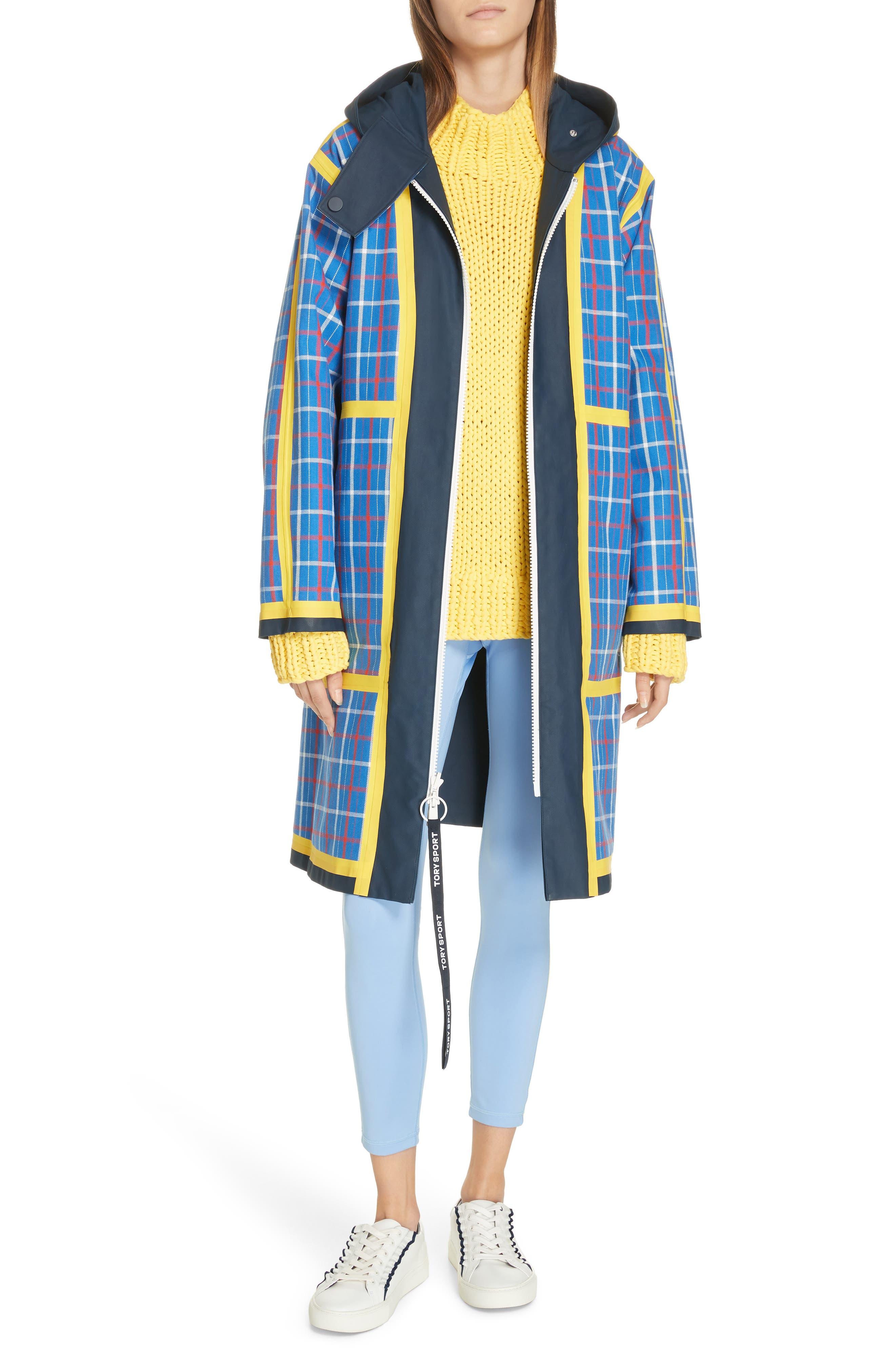 TORY SPORT, Reversible Coated Canvas Rain Coat, Alternate thumbnail 9, color, TANDEM PLAID LARGE SURF BLUE