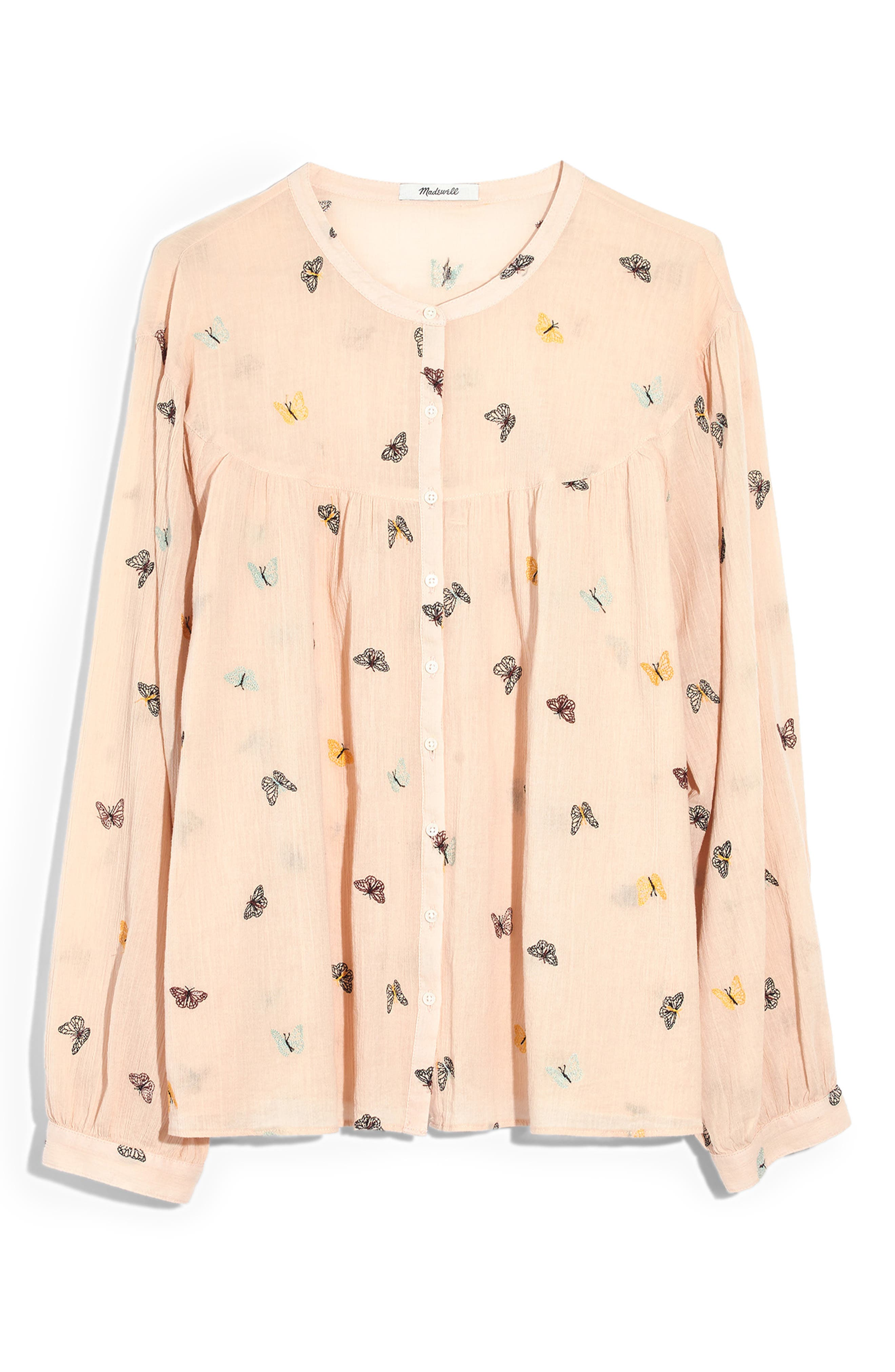 MADEWELL, Butterfly Breeze Balloon Sleeve Peasant Top, Alternate thumbnail 4, color, FLUTTERBY PALE PARCHMENT