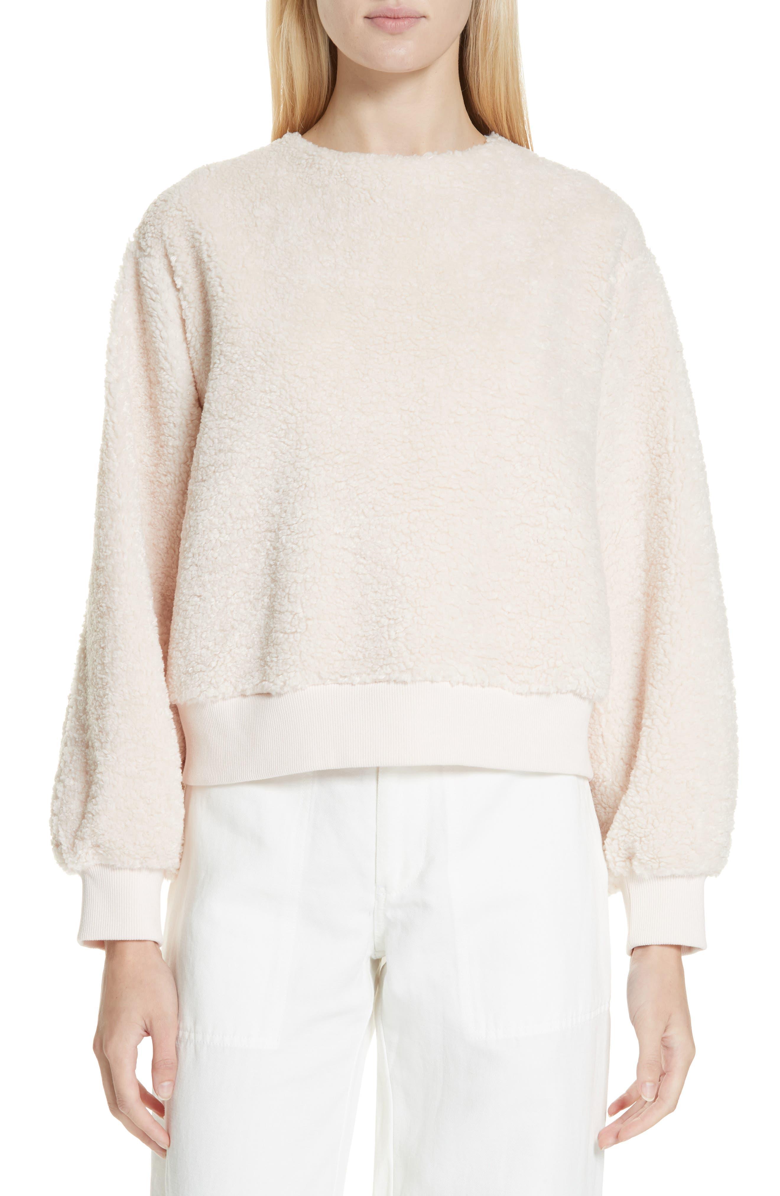 VINCE Cozy Fleece Pullover, Main, color, SOFT PINK