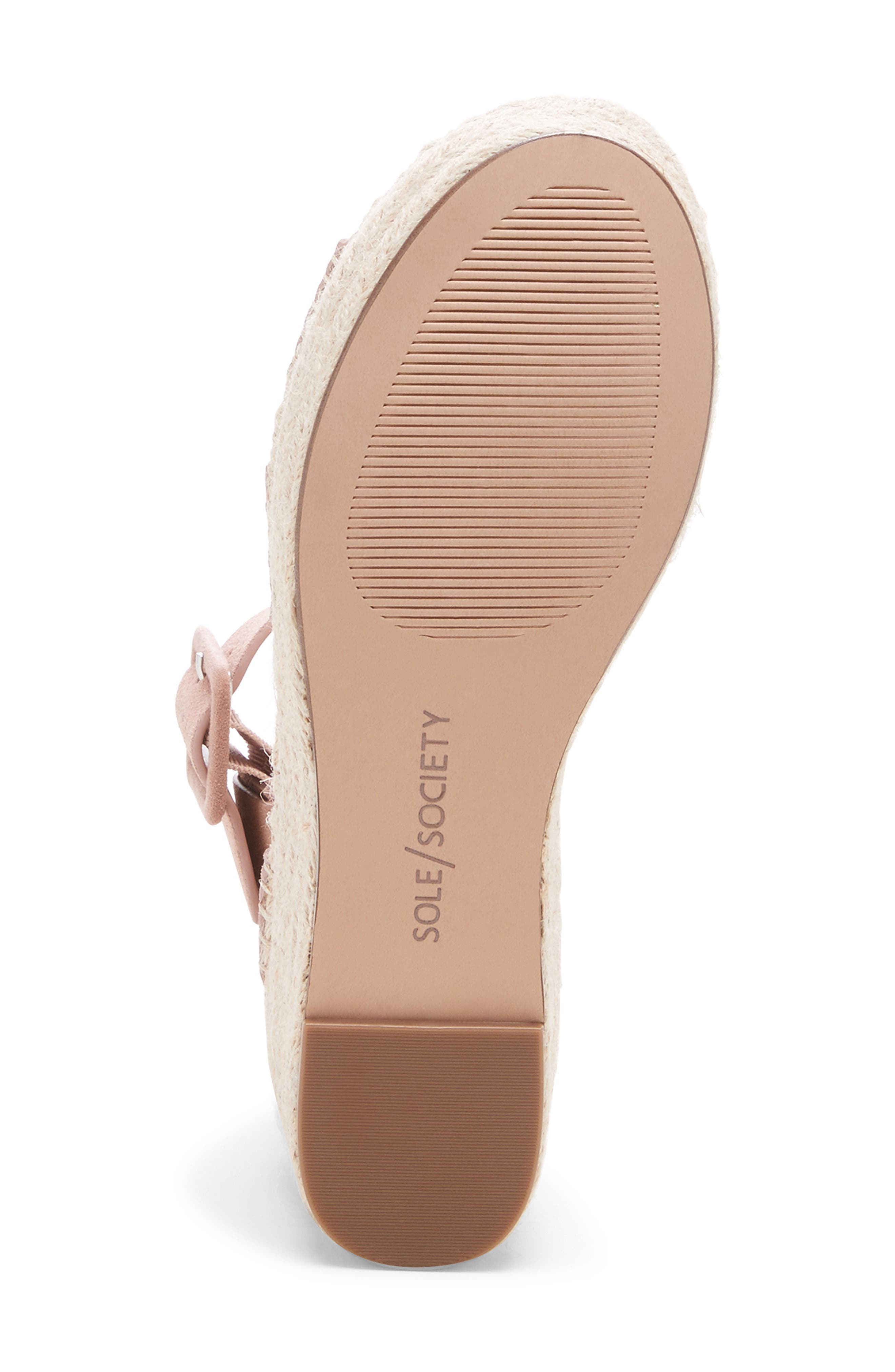 SOLE SOCIETY, Audrina Platform Espadrille Sandal, Alternate thumbnail 6, color, DUSTY ROSE SUEDE