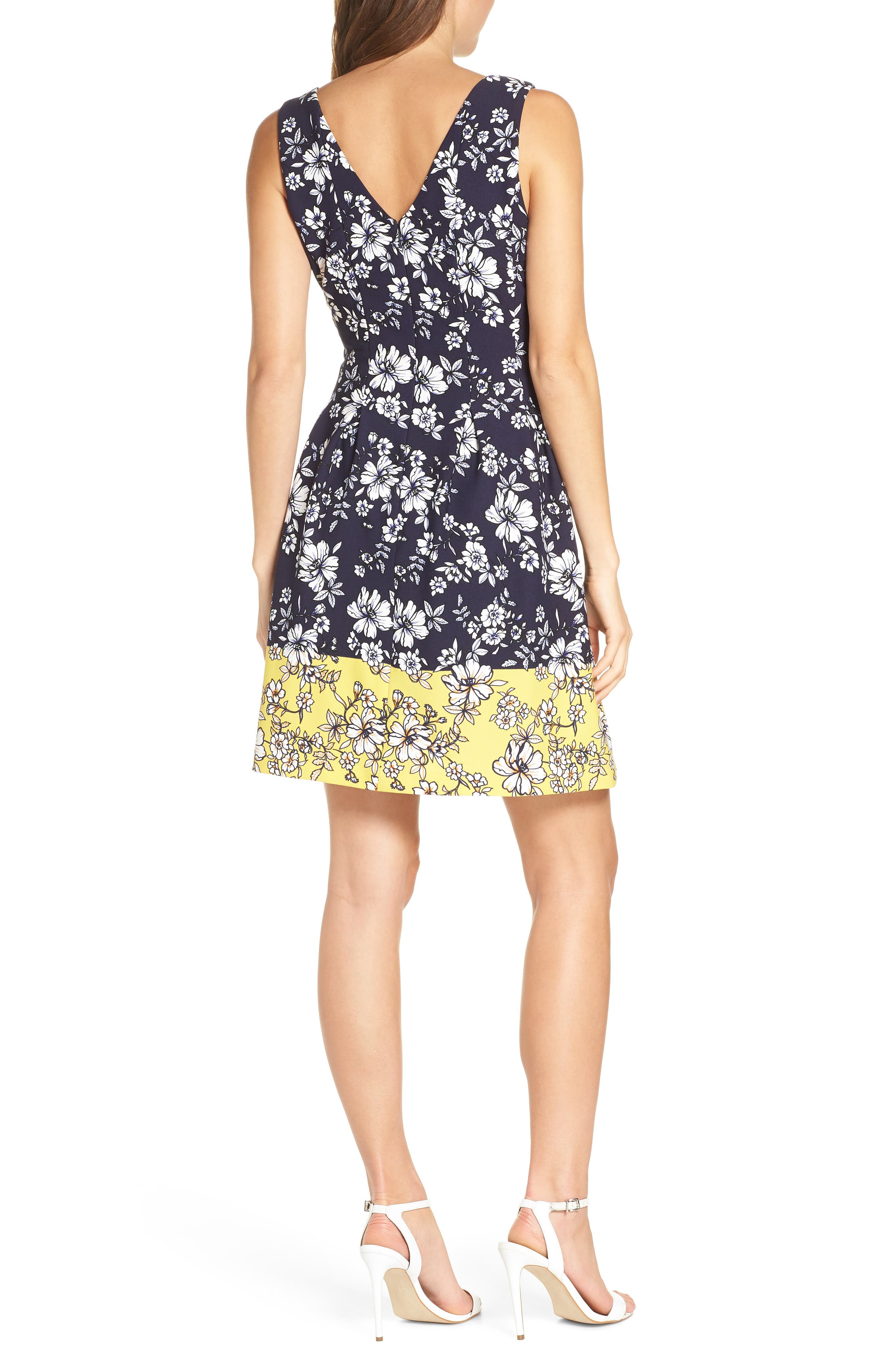 VINCE CAMUTO, Floral Print Pleated Fit & Flare Dress, Alternate thumbnail 2, color, NAVY/ YELLOW