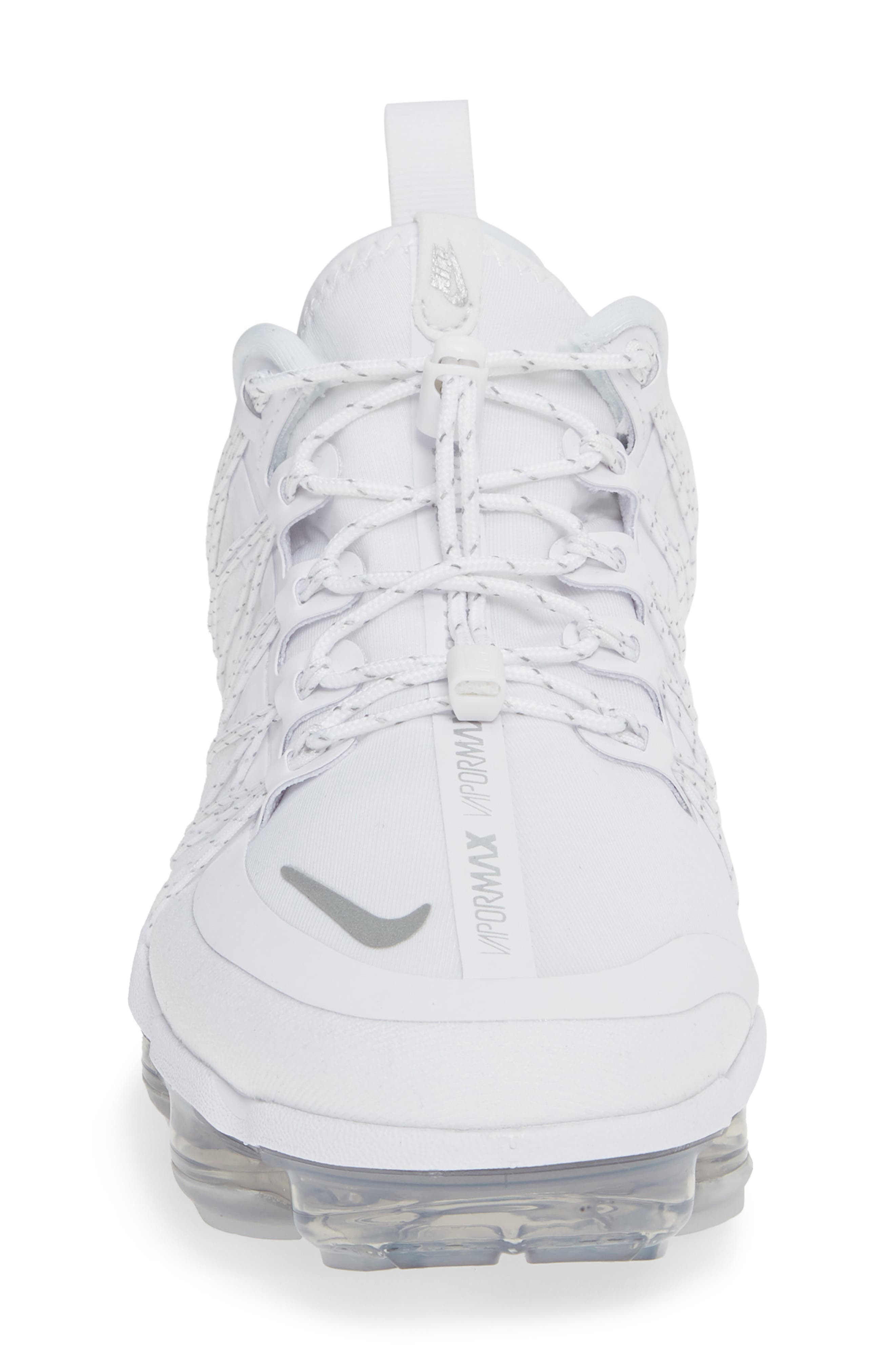 NIKE, Air VaporMax Run Utility Sneaker, Alternate thumbnail 4, color, WHITE/ REFLECT SILVER/ WHITE