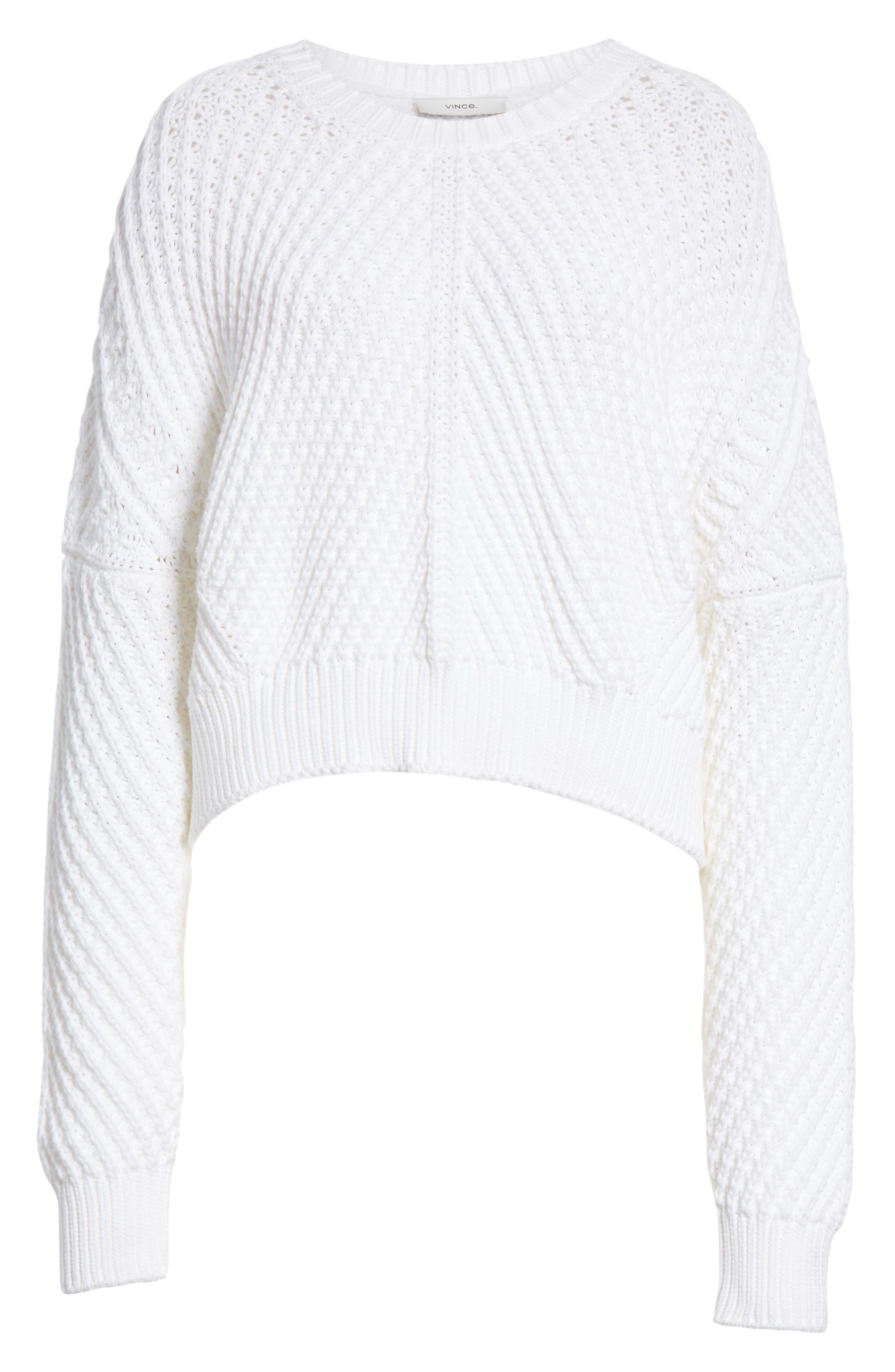 VINCE, Rib Knit Sweater, Alternate thumbnail 6, color, OPTIC WHITE