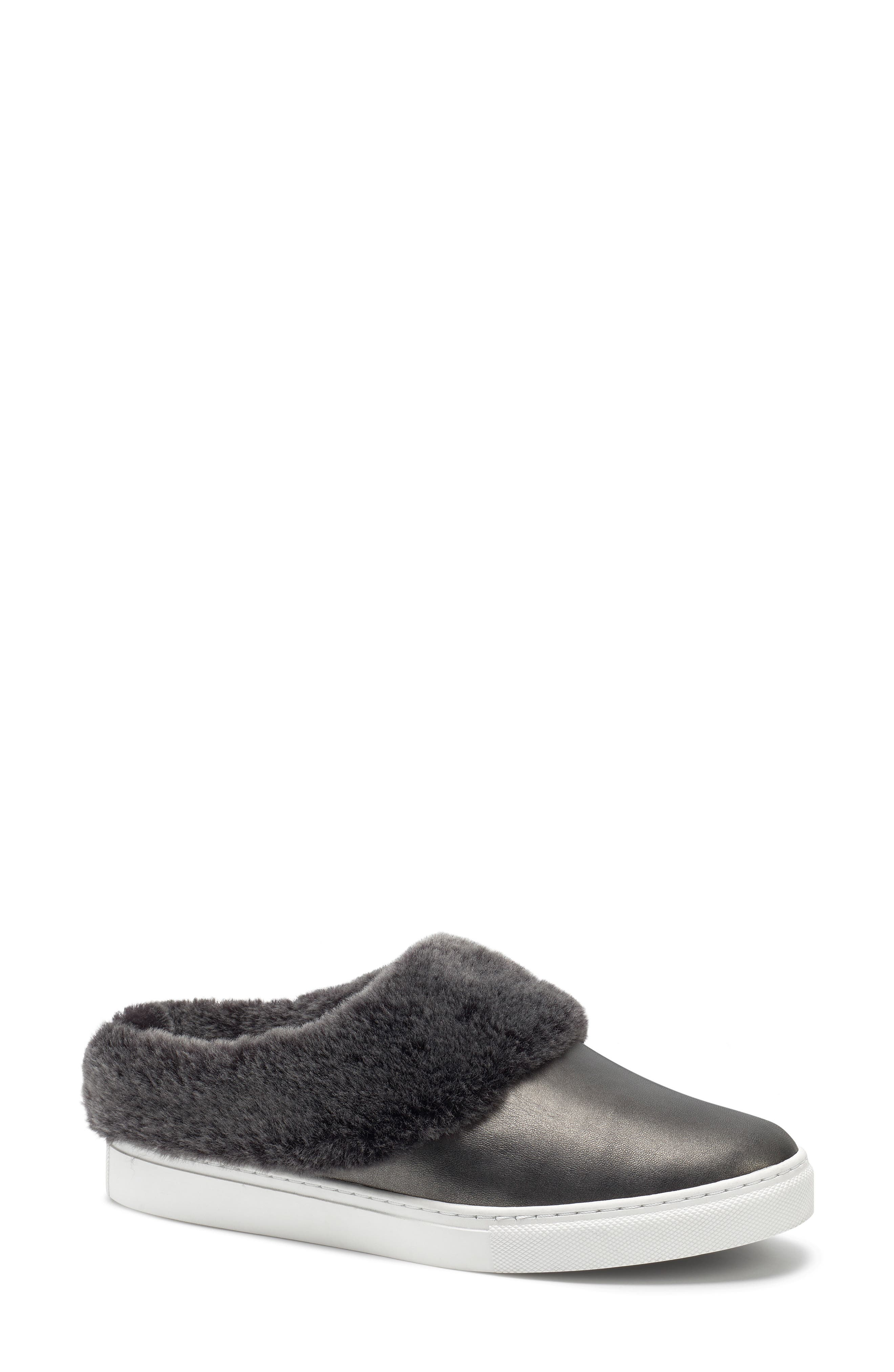 TRASK, Lisa Genuine Shearling Trim Slip-On Sneaker, Main thumbnail 1, color, PEWTER LEATHER