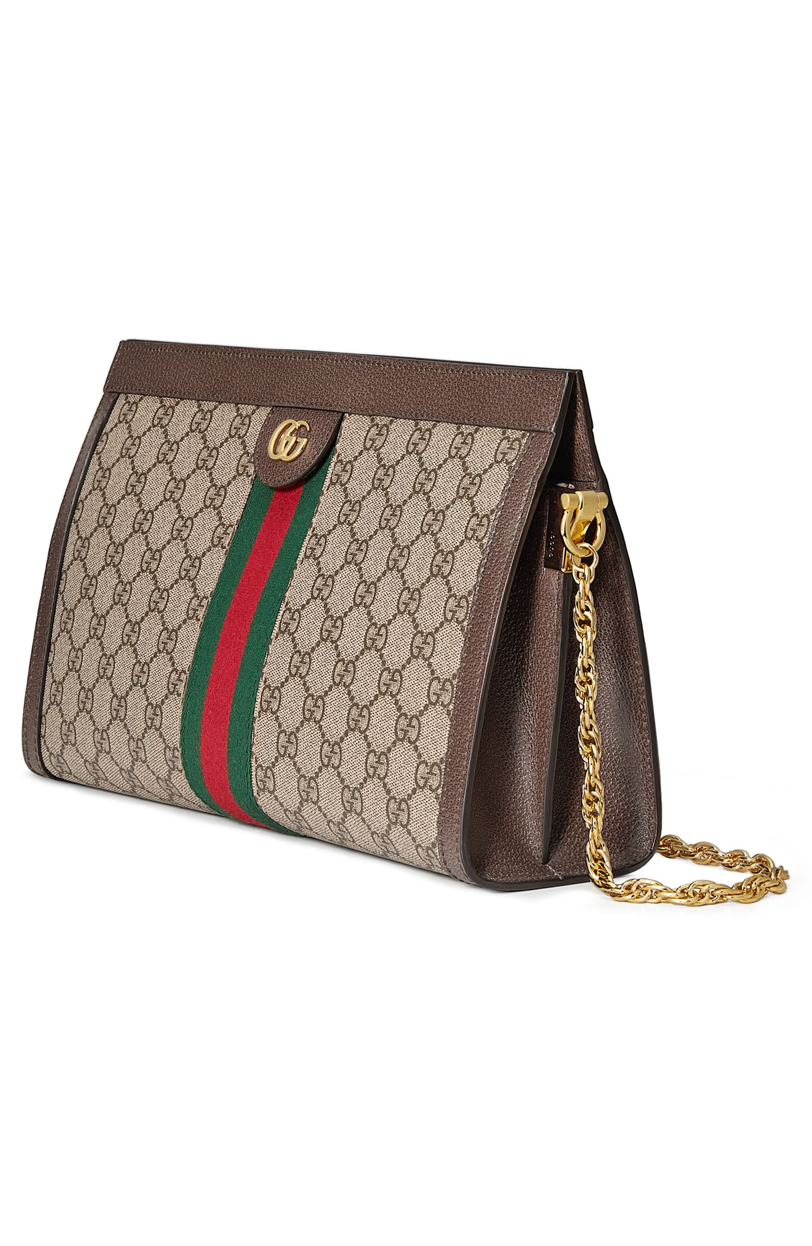 GUCCI, GG Supreme Canvas Shoulder Bag, Alternate thumbnail 4, color, BEIGE EBONY/ NERO/ VERT/ RED