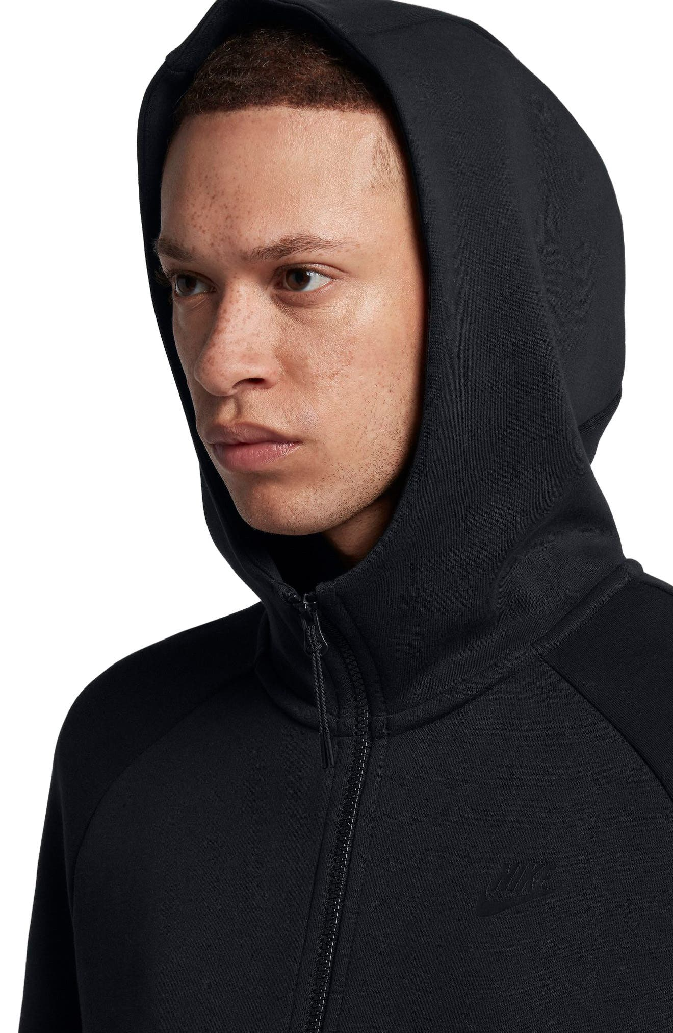 NIKE, Sportswear Tech Fleece Zip Hoodie, Alternate thumbnail 4, color, BLACK/ BLACK