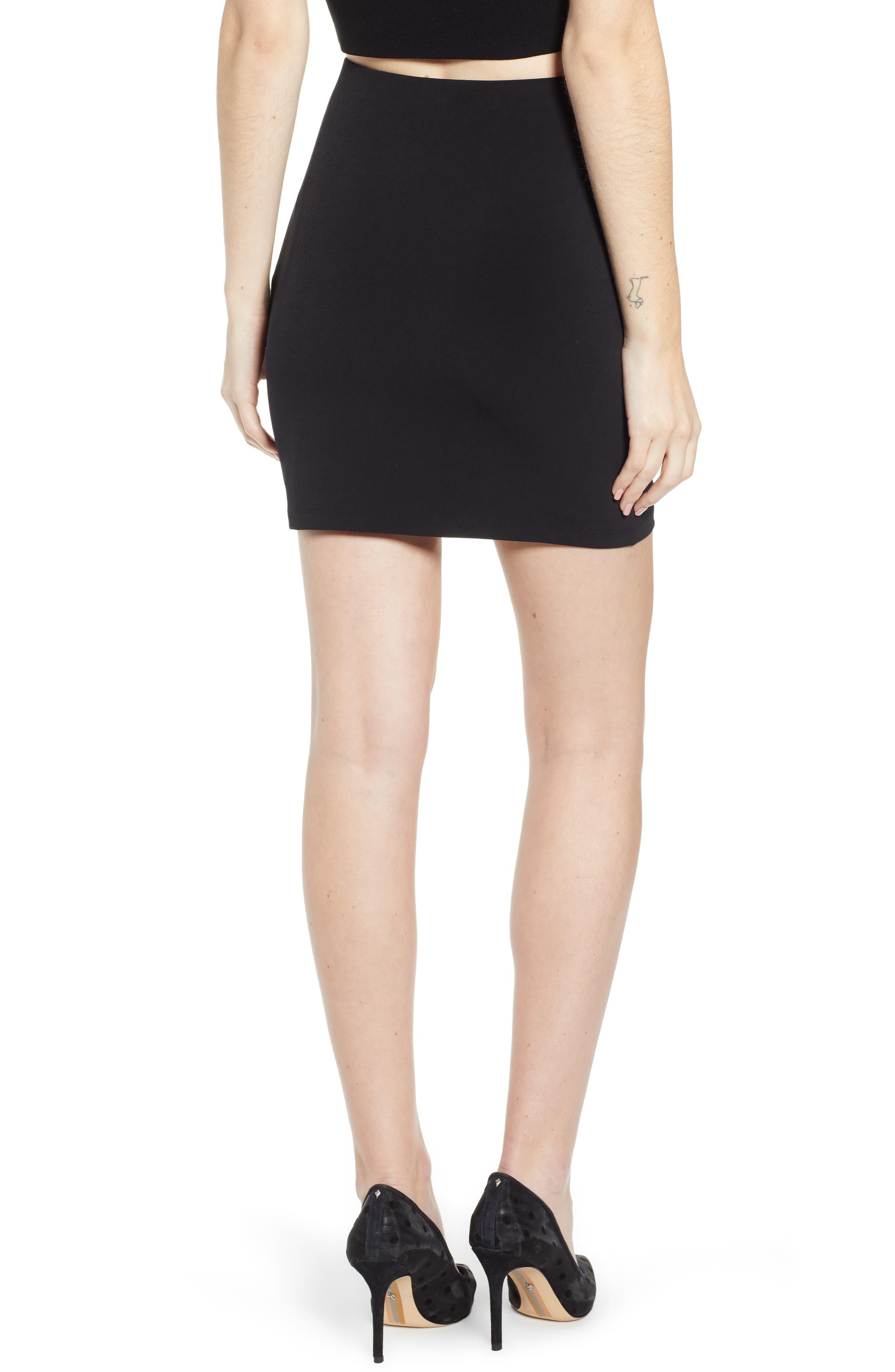 LEITH, Mini Body-Con Skirt, Alternate thumbnail 2, color, BLACK