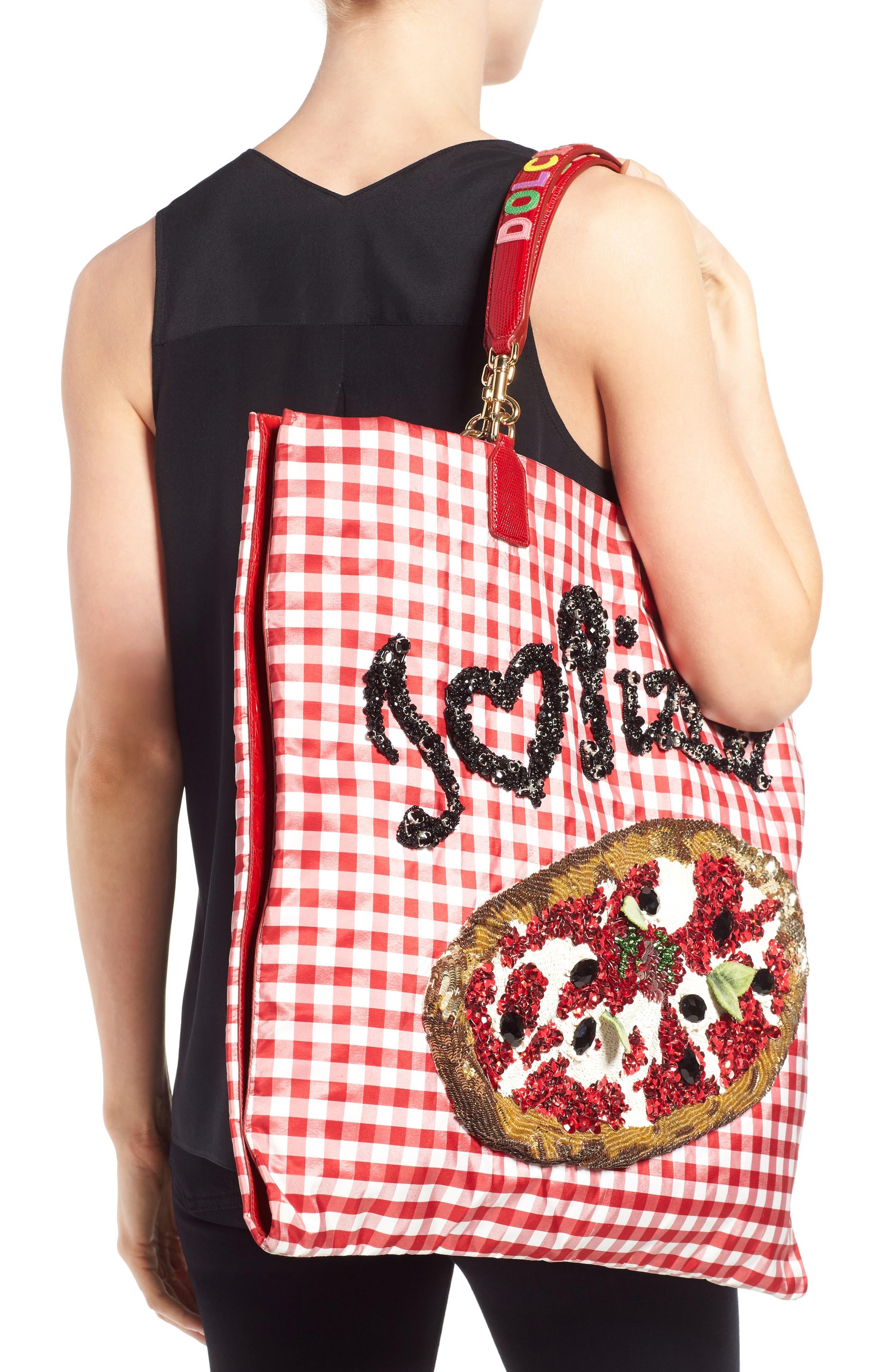 DOLCE&GABBANA, I Love Pizza Tote, Alternate thumbnail 2, color, 640