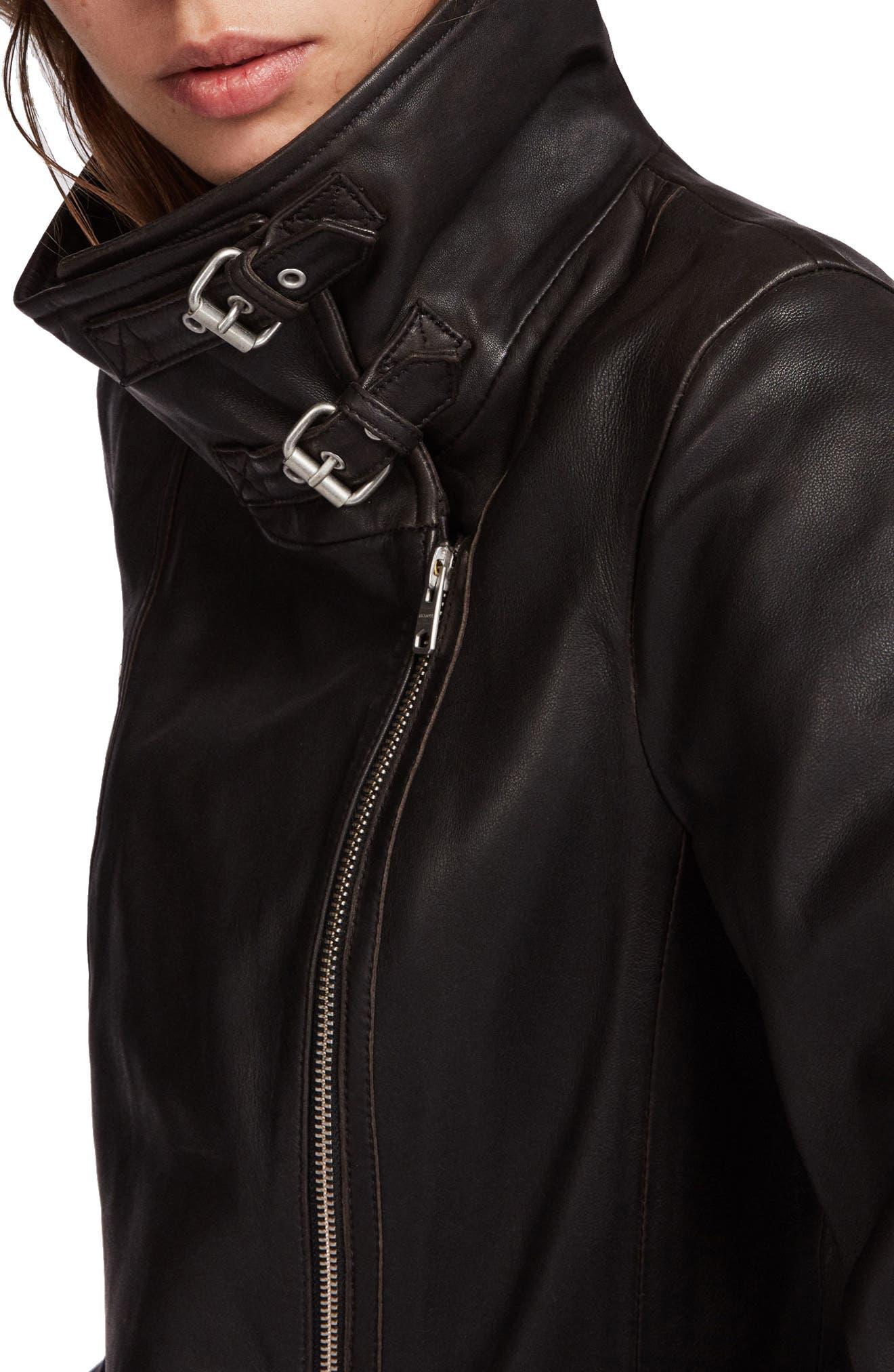 ALLSAINTS, Bales Leather Biker Jacket, Alternate thumbnail 4, color, BLACK