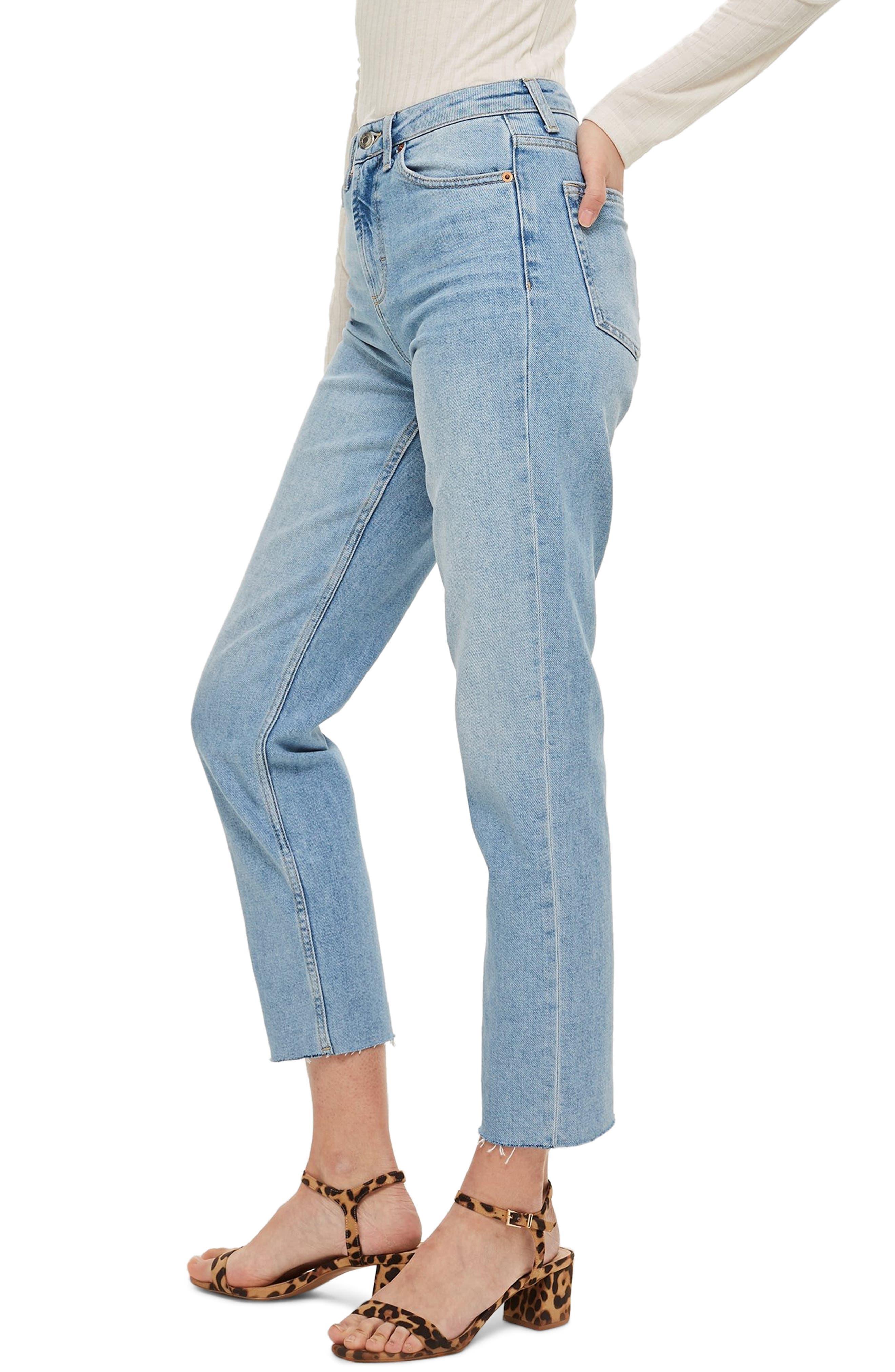 TOPSHOP, Raw Hem Straight Leg Jeans, Alternate thumbnail 4, color, BLEACH