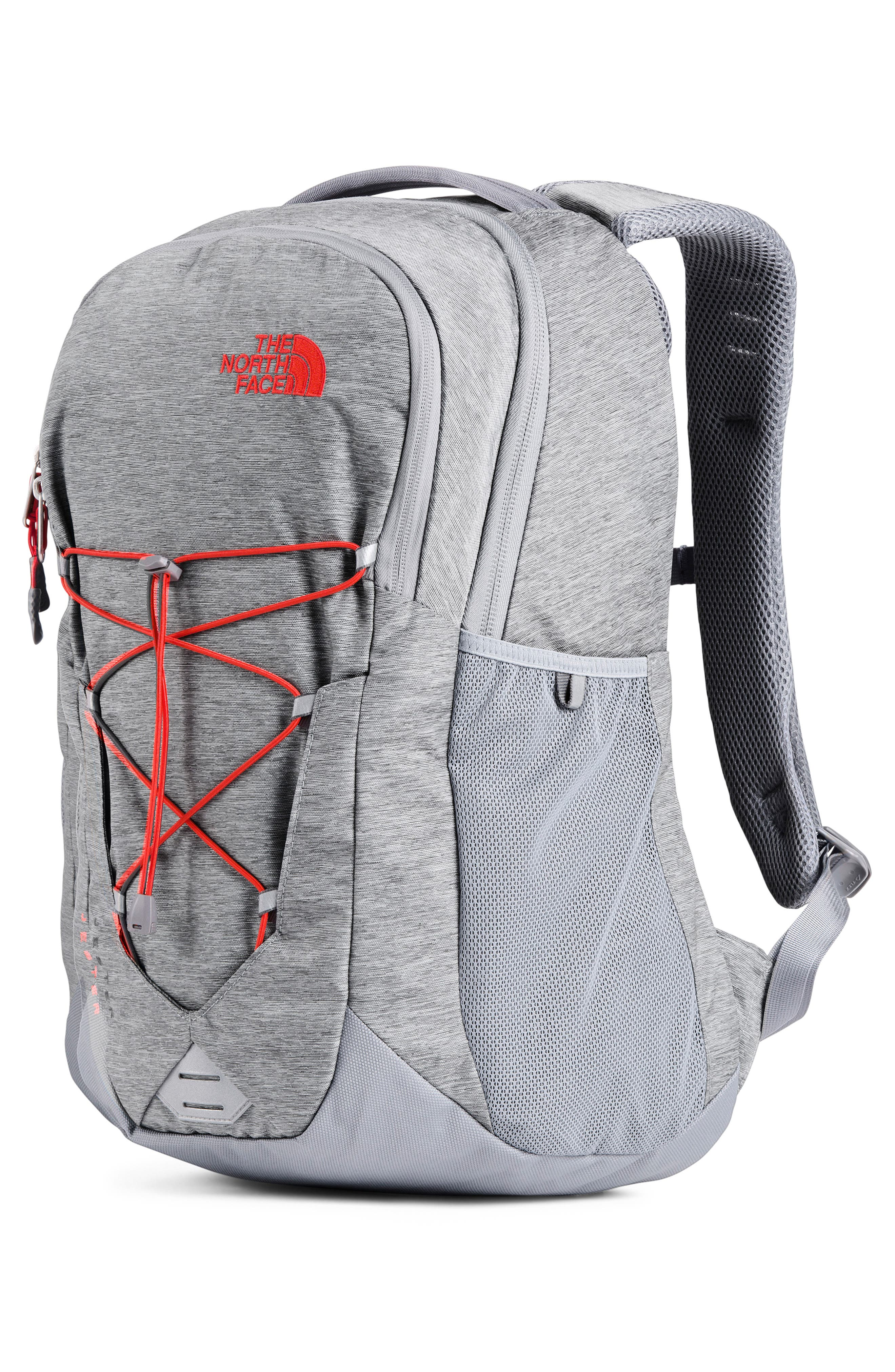 THE NORTH FACE, Jester Backpack, Alternate thumbnail 5, color, GREY DARK HEATHER/FIERY RED