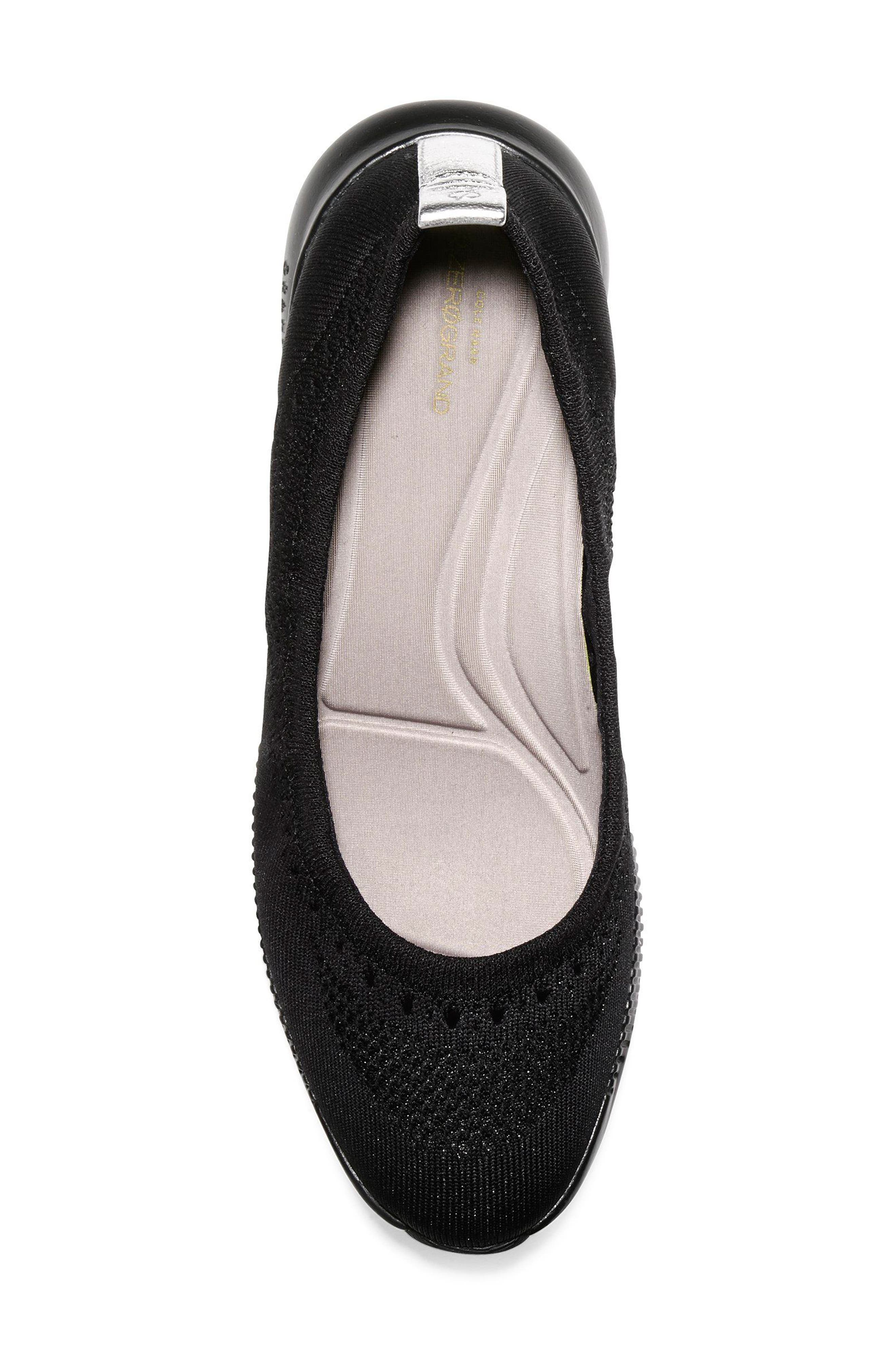 COLE HAAN, 2.ZERØGRAND Stitchlite Ballet Flat, Alternate thumbnail 5, color, BLACK FABRIC