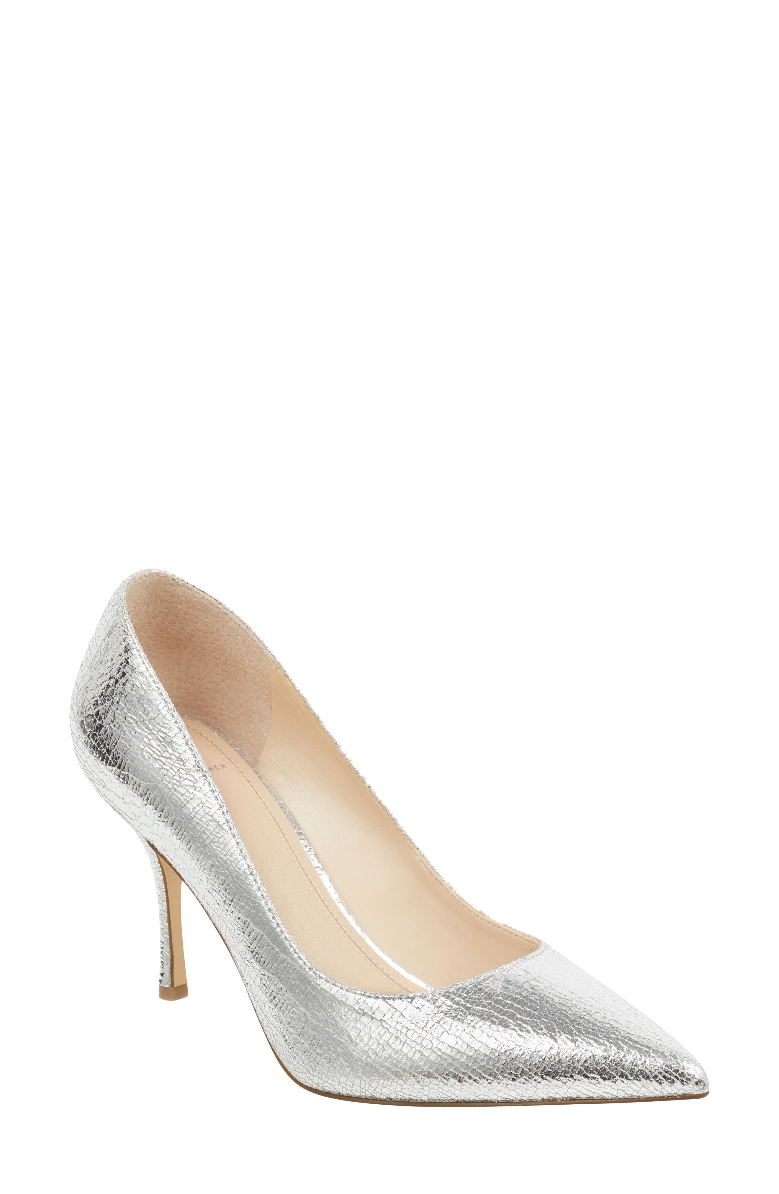 MARC FISHER LTD Carter Pump, Main, color, SILVER LEATHER