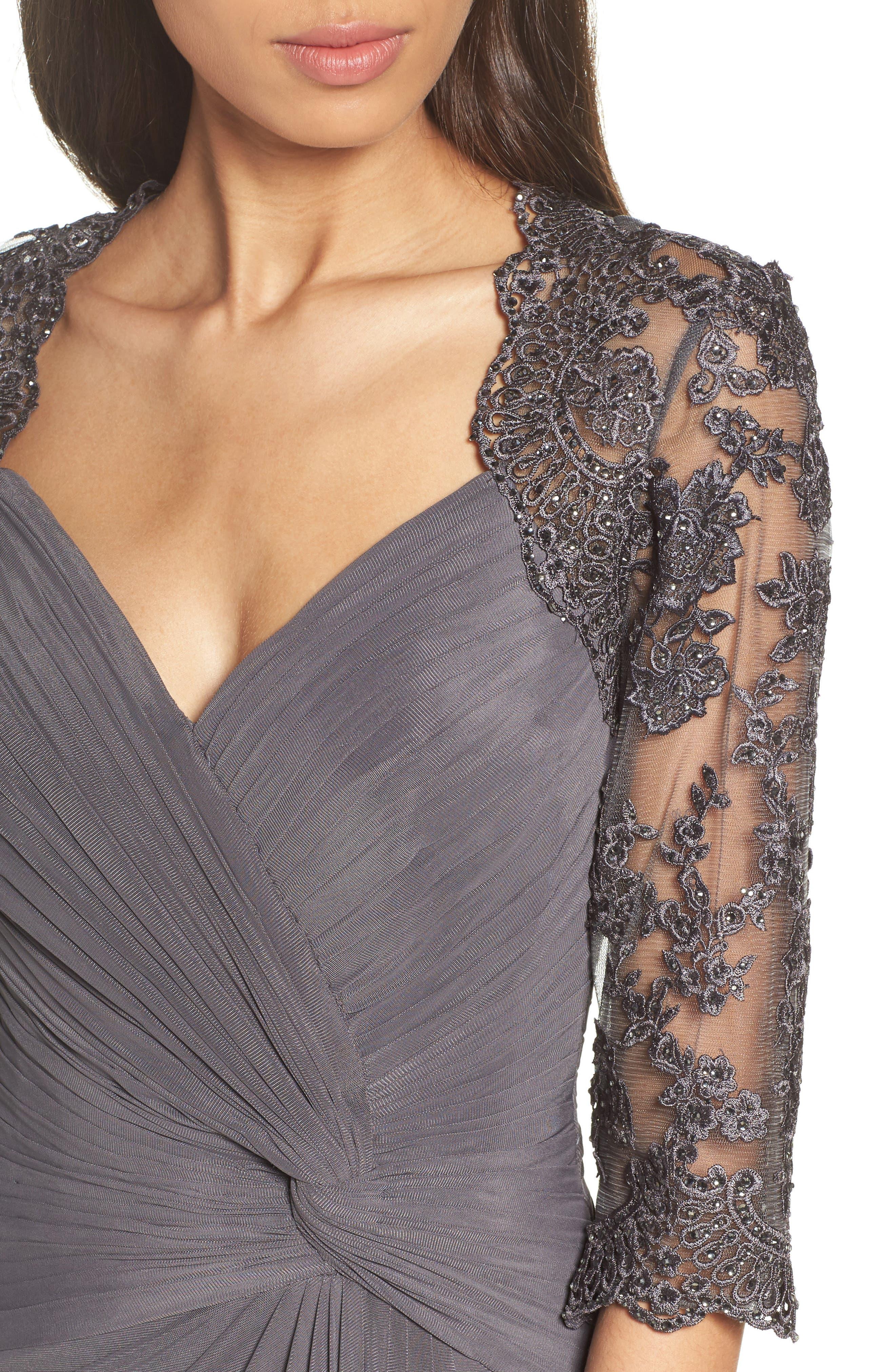 LA FEMME, Lace & Net Ruched Twist Front Gown, Alternate thumbnail 4, color, GUNMETAL
