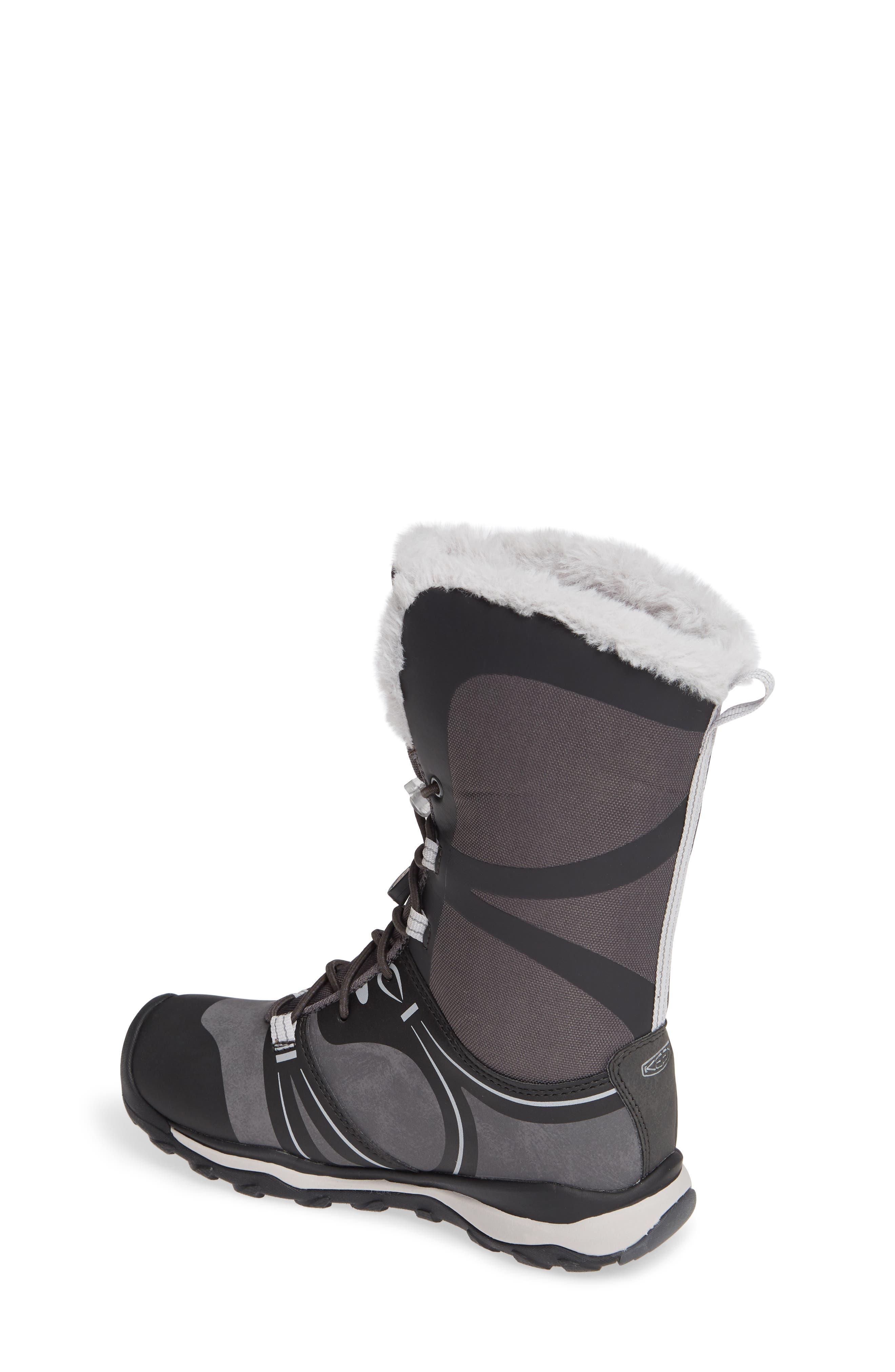KEEN, Terradora Faux Fur Trim Waterproof Snow Boot, Alternate thumbnail 2, color, RAVEN/ VAPOR