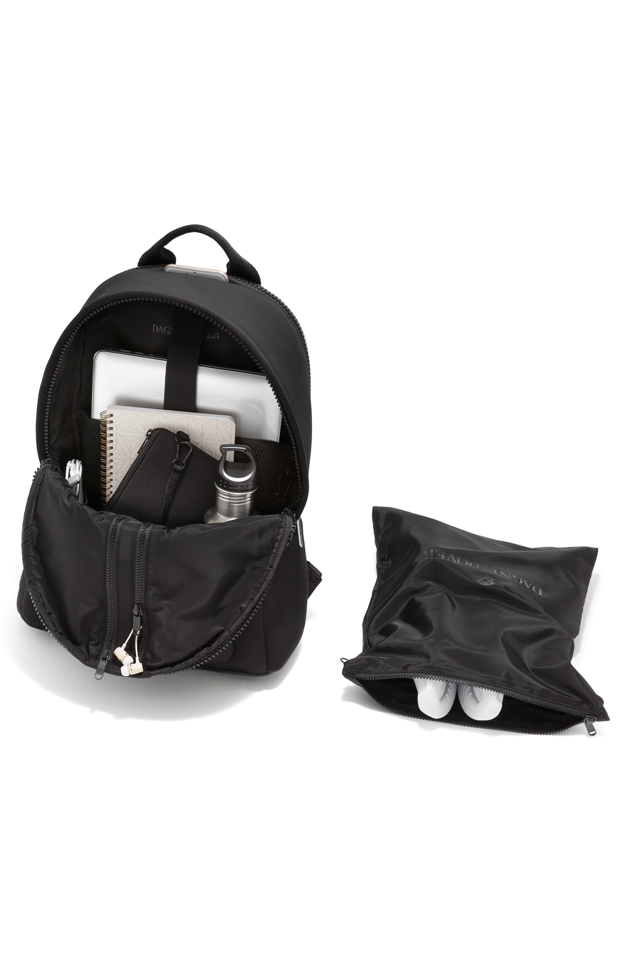 DAGNE DOVER, Large Dakota Neoprene Backpack, Alternate thumbnail 3, color, ONYX