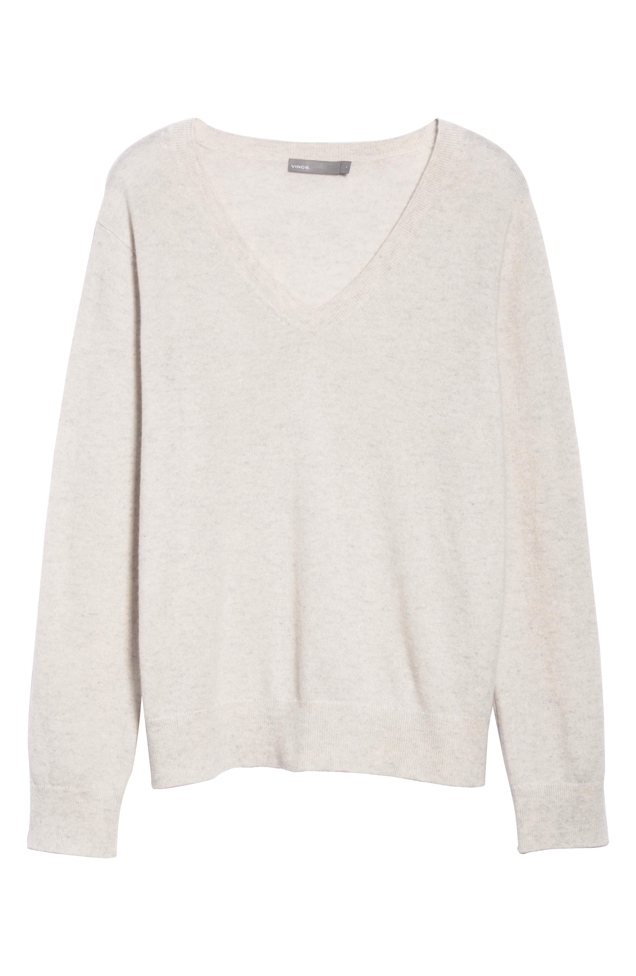 VINCE, Weekend V-Neck Cashmere Sweater, Alternate thumbnail 6, color, HEATHER WHITE