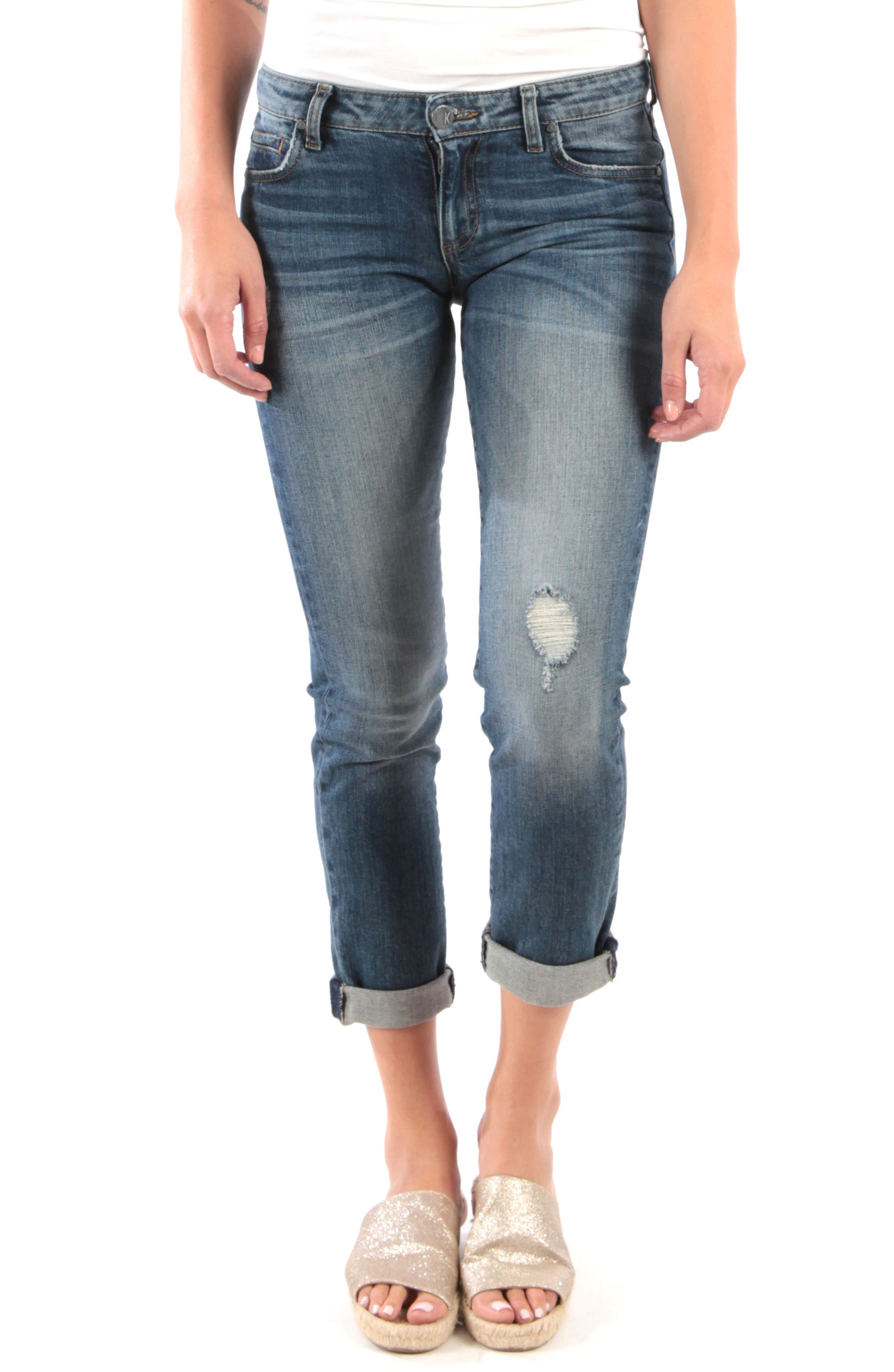 KUT FROM THE KLOTH, Catherine Distressed Roll Hem Crop Boyfriend Jeans, Main thumbnail 1, color, PARALLEL