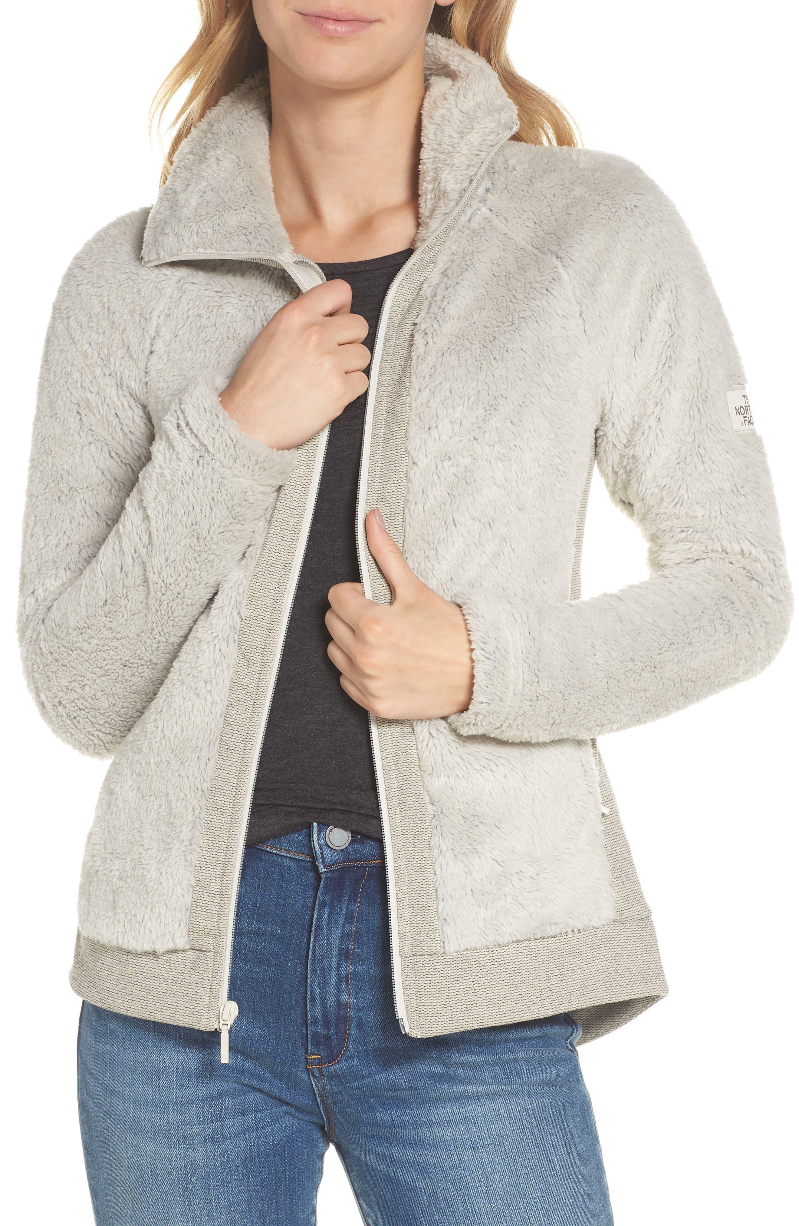 THE NORTH FACE, Furry Fleece Jacket, Main thumbnail 1, color, VINTAGE WHITE