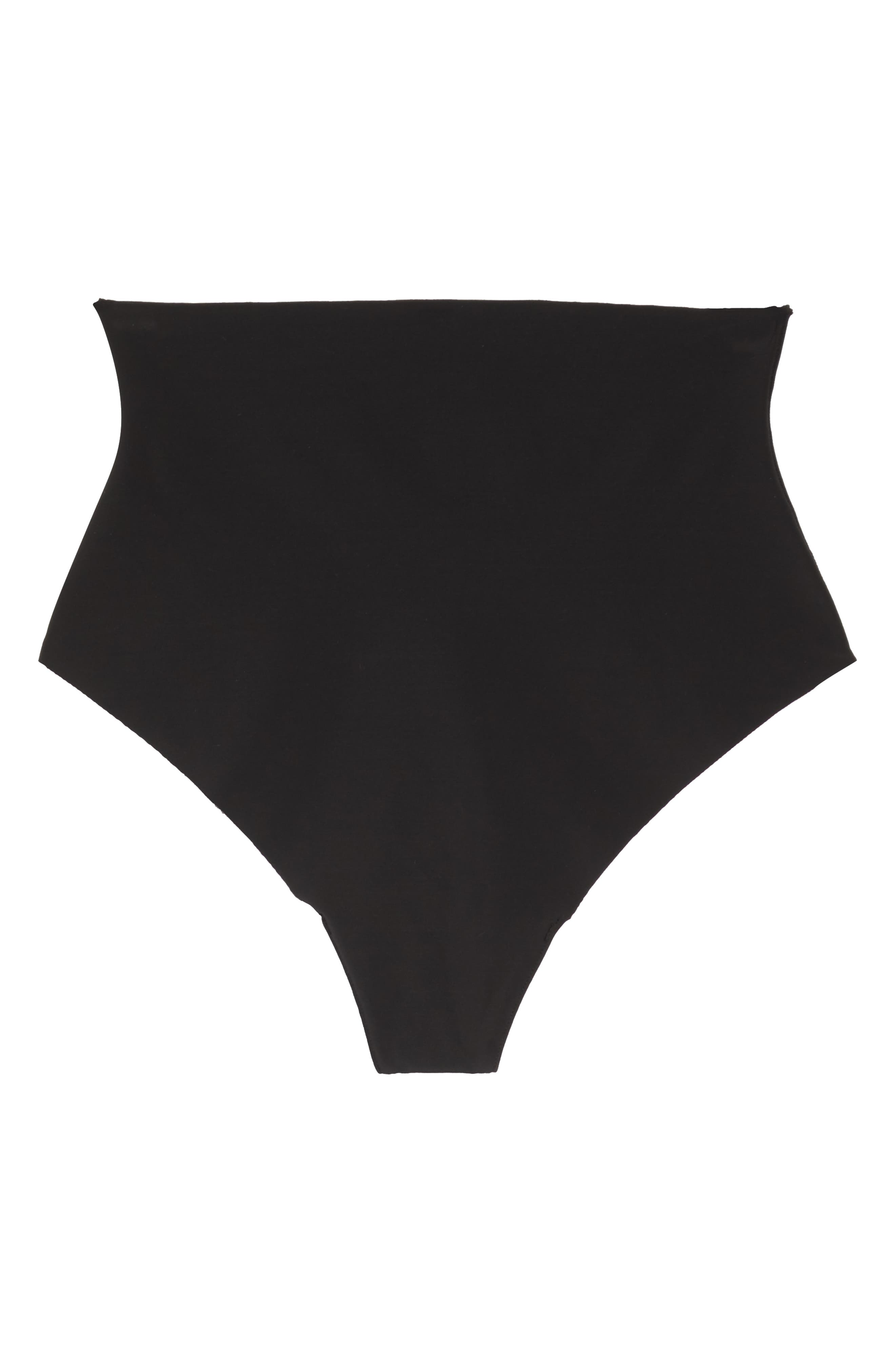 YUMMIE, Smooth Solutions Mid Waist Thong, Alternate thumbnail 6, color, BLACK