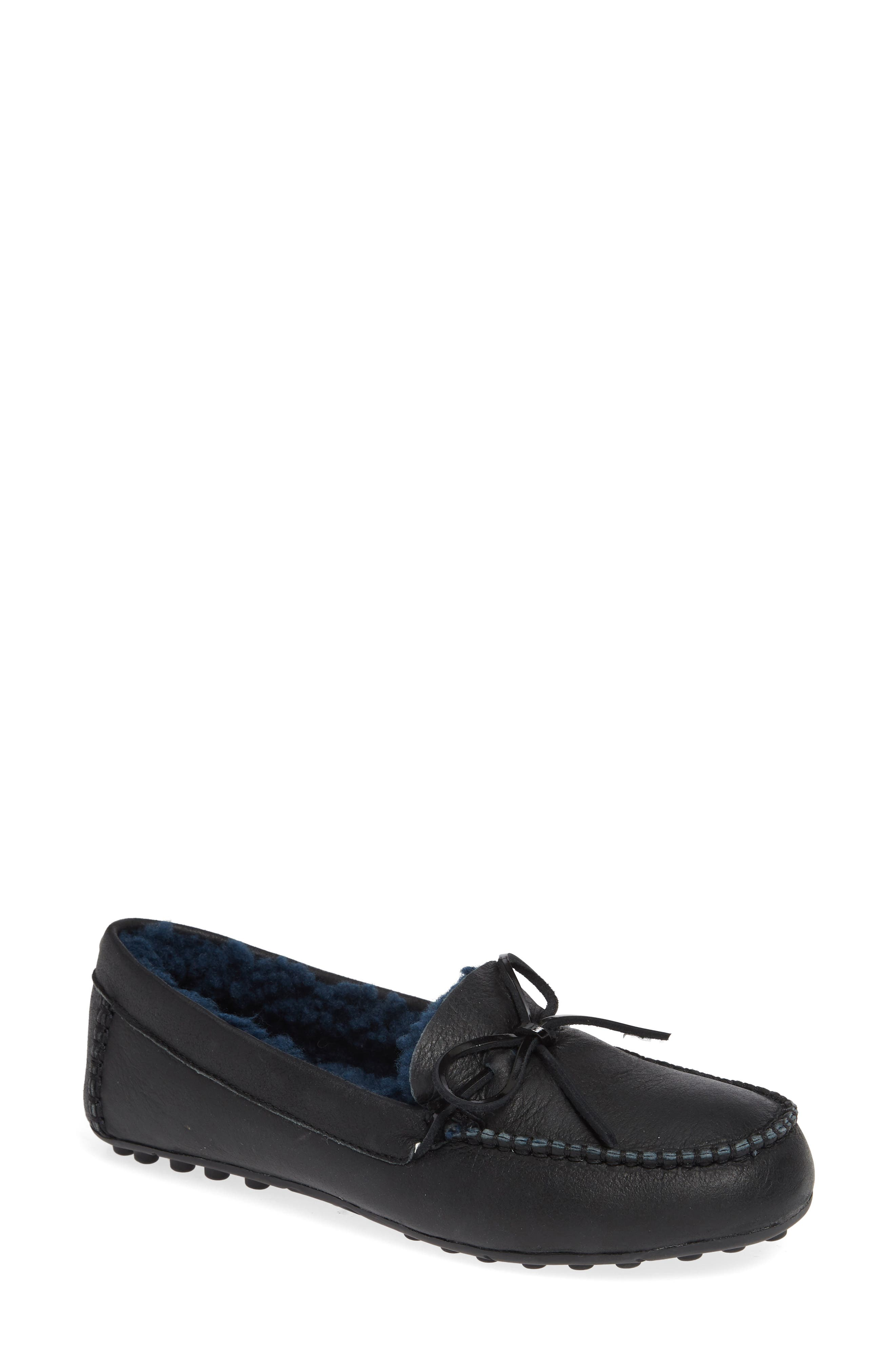 UGG<SUP>®</SUP>, Deluxe Loafer, Main thumbnail 1, color, BLACK LEATHER