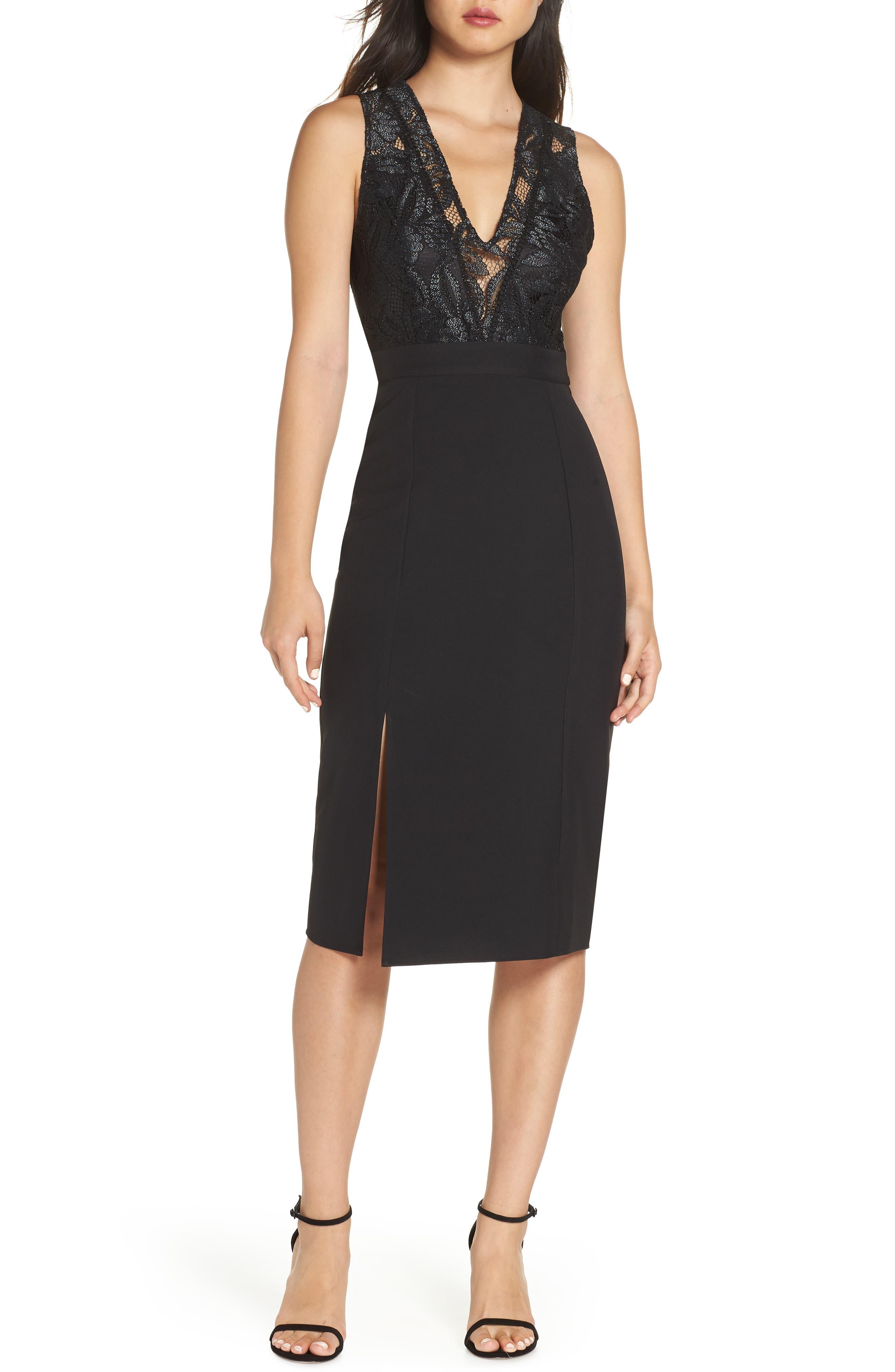 NSR, Kate V-Neck Lace Sheath Dress, Main thumbnail 1, color, 001