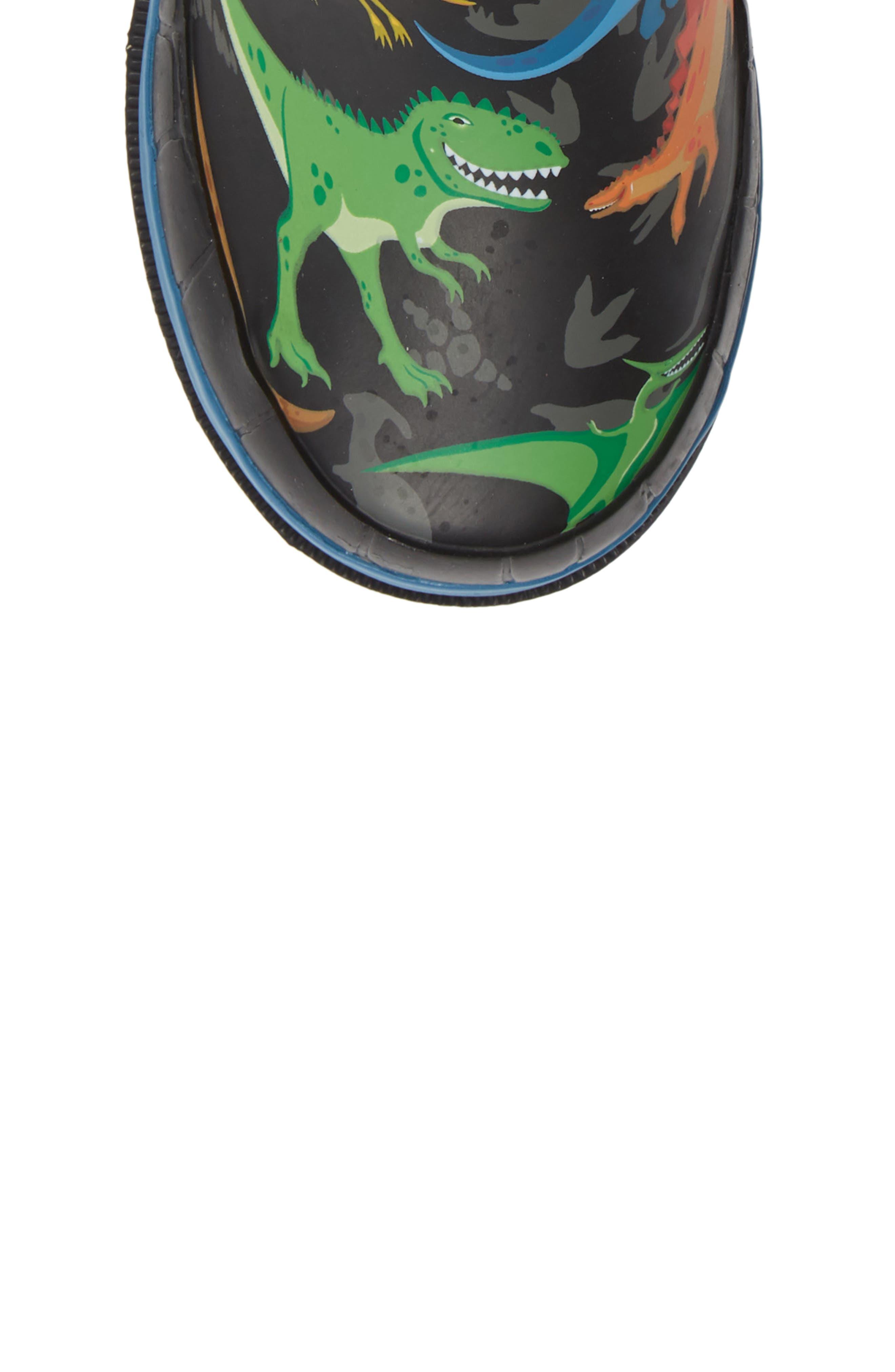 WESTERN CHIEF, Dino World Waterproof Rain Boots, Alternate thumbnail 5, color, BLACK