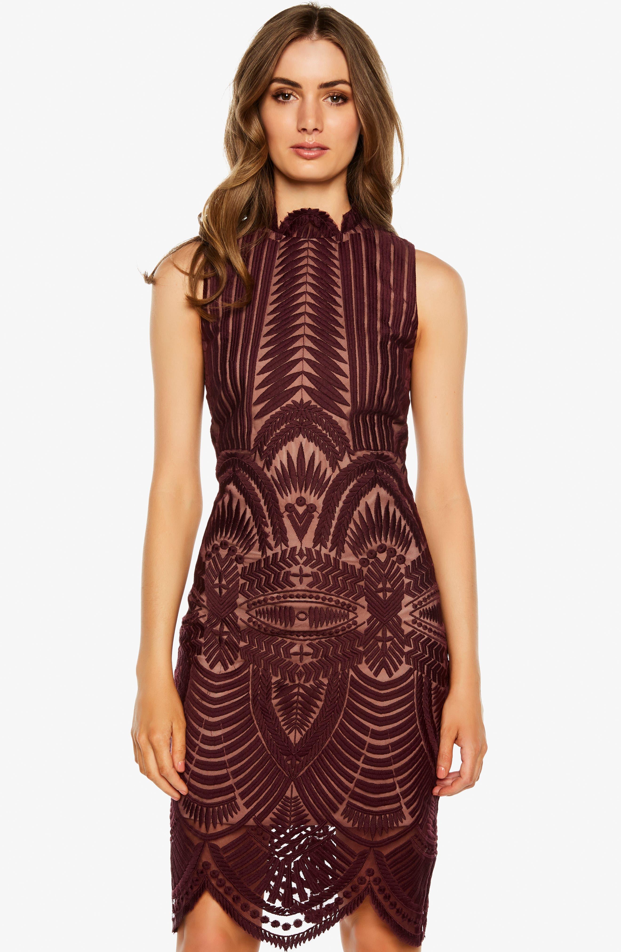 BARDOT, Alice Lace Body-Con Dress, Alternate thumbnail 7, color, 608