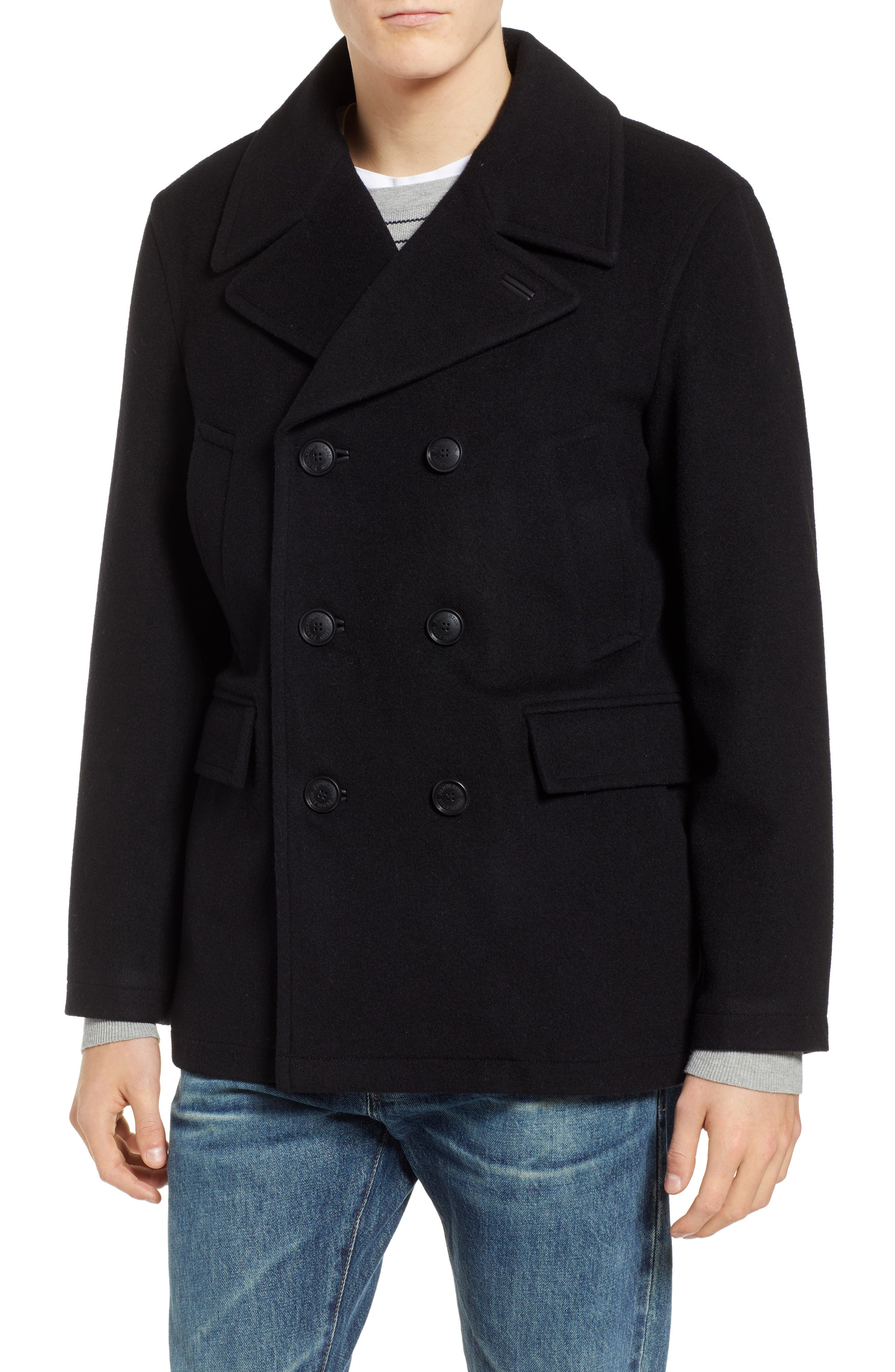 PENDLETON, Maritime Wool Blend Peacoat, Main thumbnail 1, color, BLACK