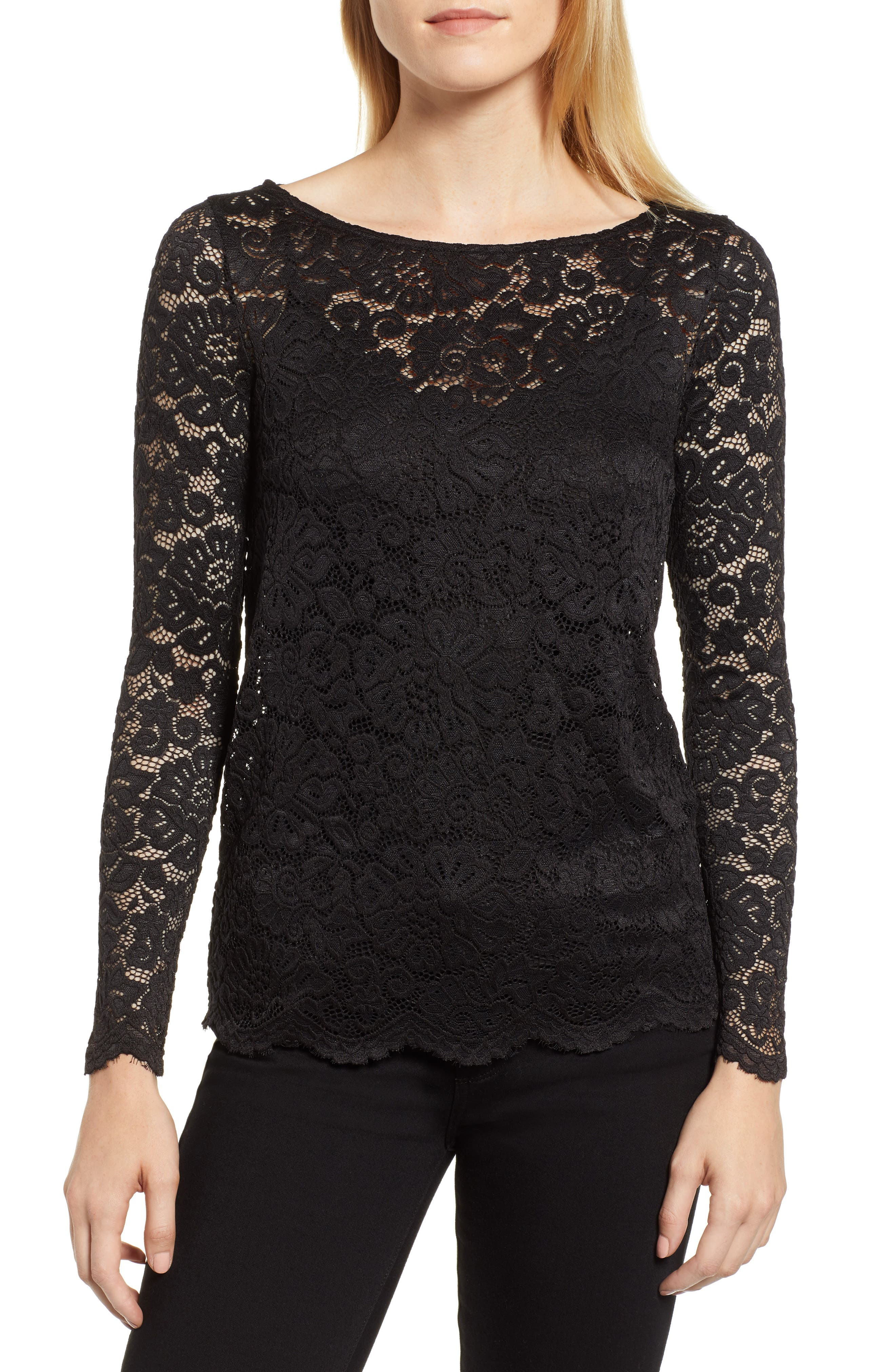 ROSEMUNDE, Filipa Lace Blouse, Main thumbnail 1, color, BLACK