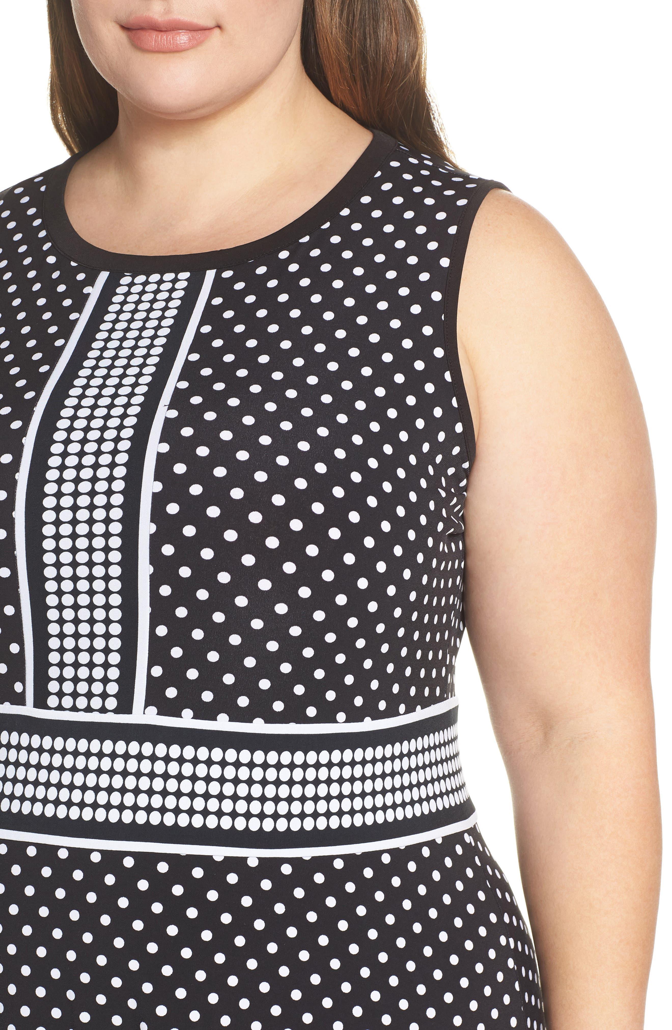 MICHAEL MICHAEL KORS, Mixed Polka Dot Dress, Alternate thumbnail 5, color, BLACK/ WHITE
