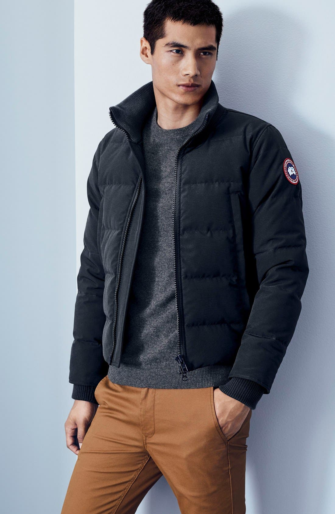 CANADA GOOSE, 'Woolford' Slim Fit Down Bomber Jacket, Alternate thumbnail 8, color, GRAPHITE