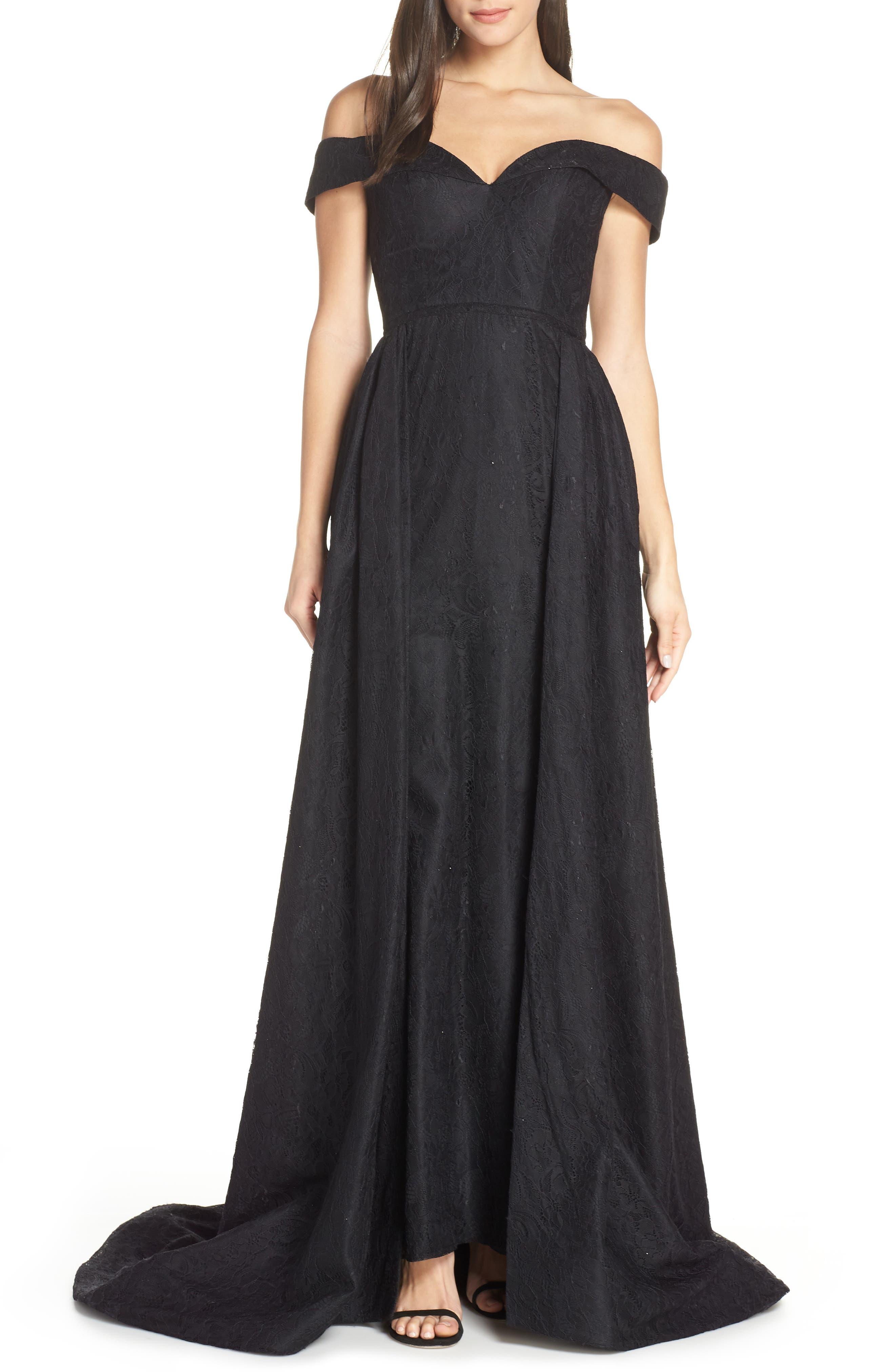 MAC DUGGAL, Off the Shoulder Lace Evening Dress, Main thumbnail 1, color, BLACK