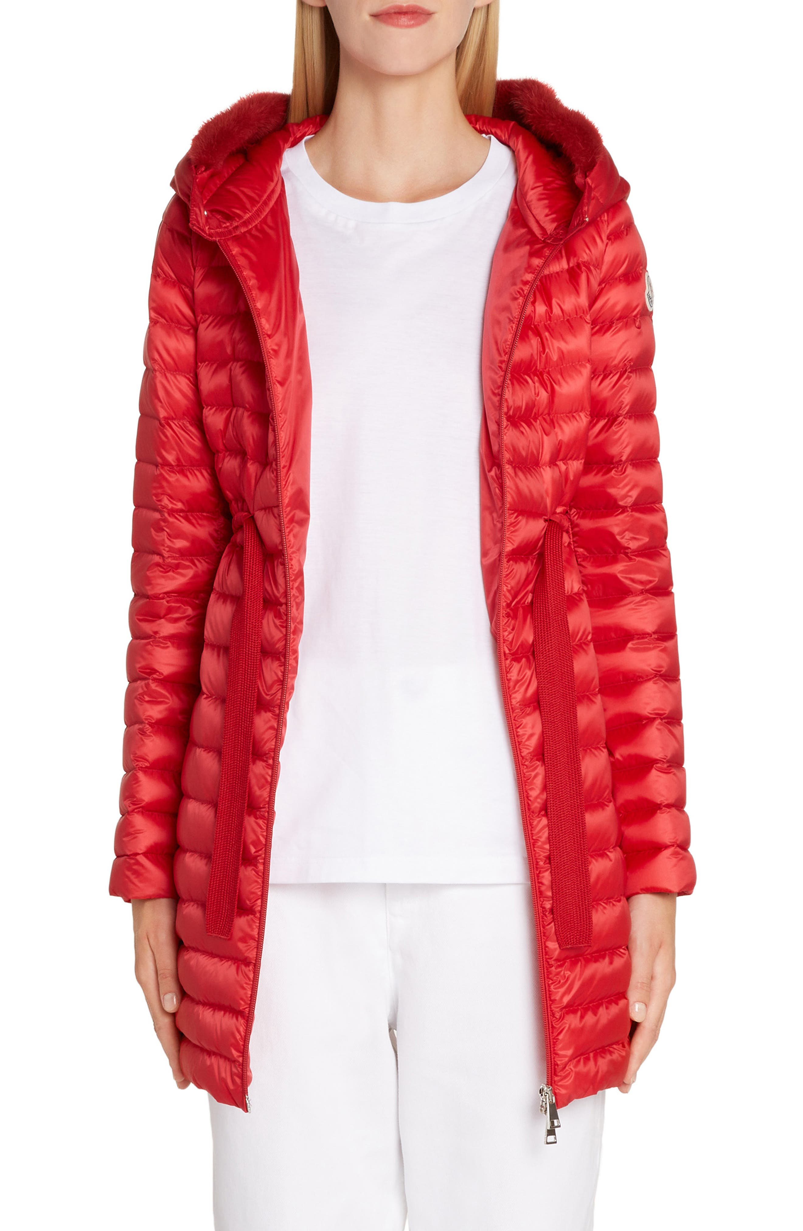 MONCLER Barbel Quilted Down Coat with Genuine Mink Fur Trim, Main, color, RED