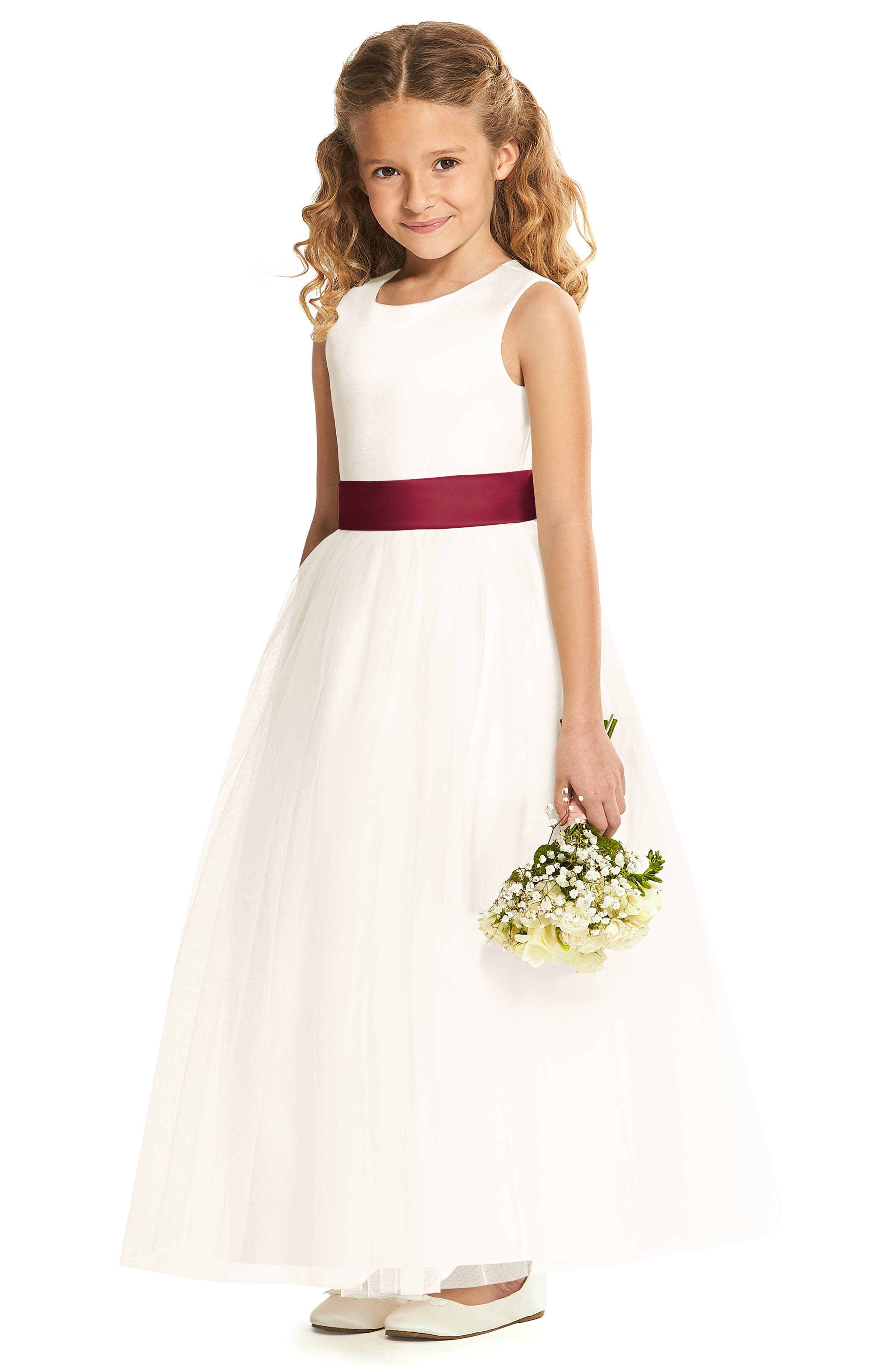 DESSY COLLECTION, Flower Girl Dress, Main thumbnail 1, color, IVORY WITH BURGUNDY SASH