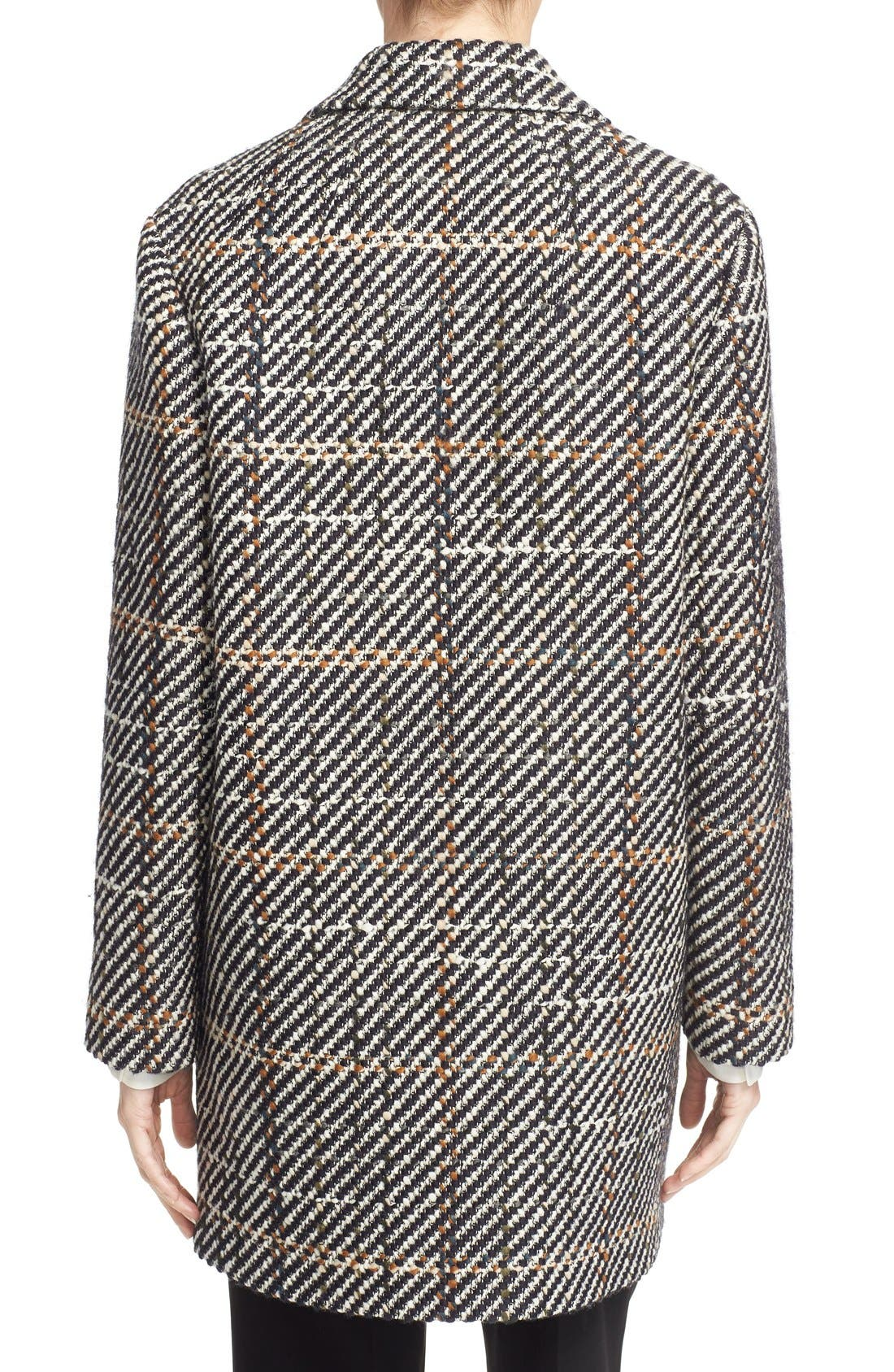 THEORY, Graphic Tweed Coat, Alternate thumbnail 3, color, 454