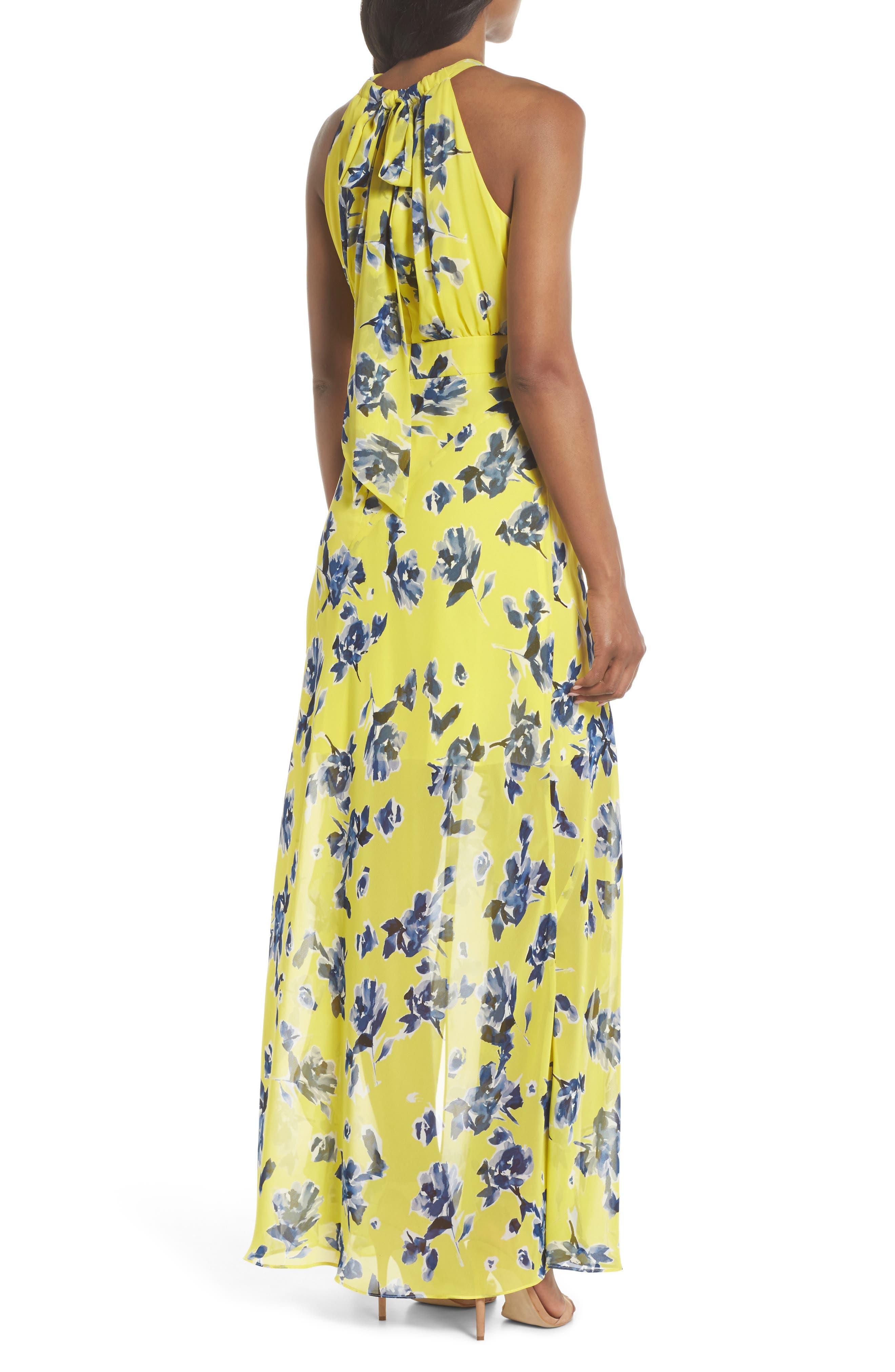 ELIZA J, Halter Ruffle Maxi Dress, Alternate thumbnail 2, color, YELLOW
