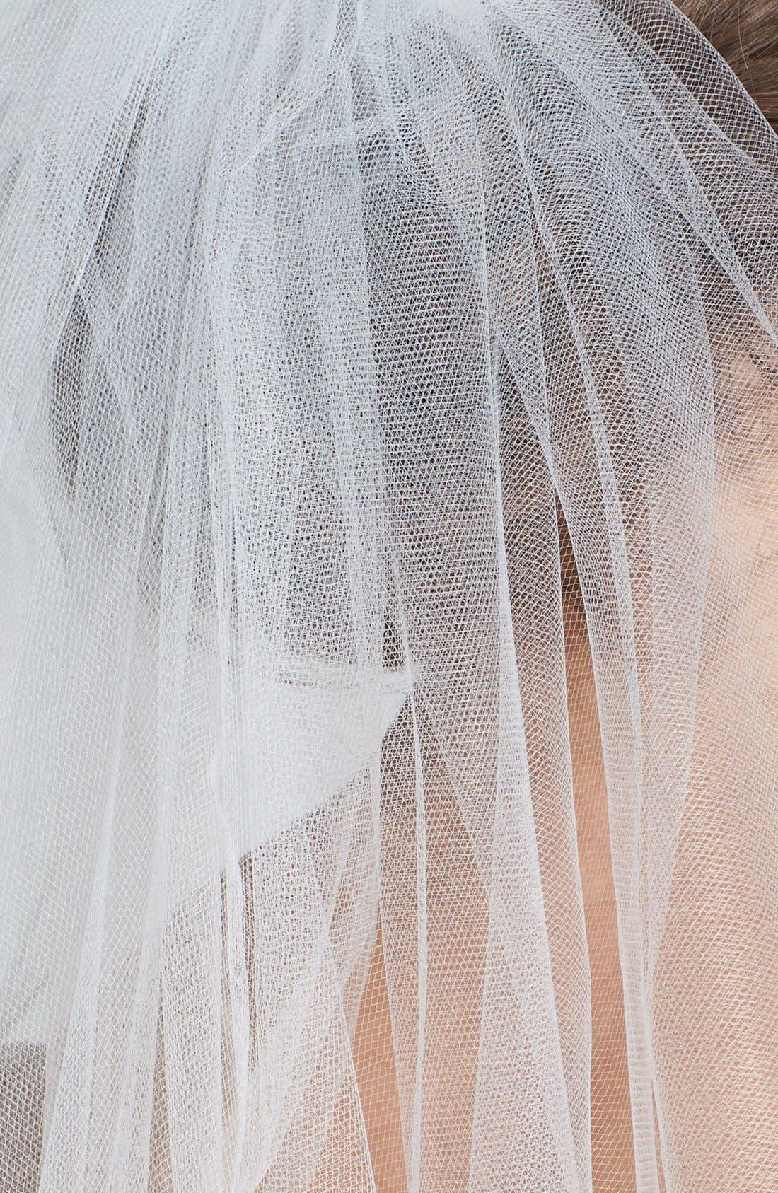 WEDDING BELLES NEW YORK, 'Ellen' Cathedral Veil, Alternate thumbnail 2, color, WHITE