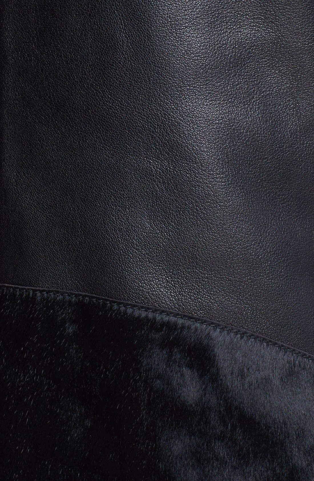 VEDA, Genuine Calf Hair & Leather Vest, Alternate thumbnail 4, color, 001