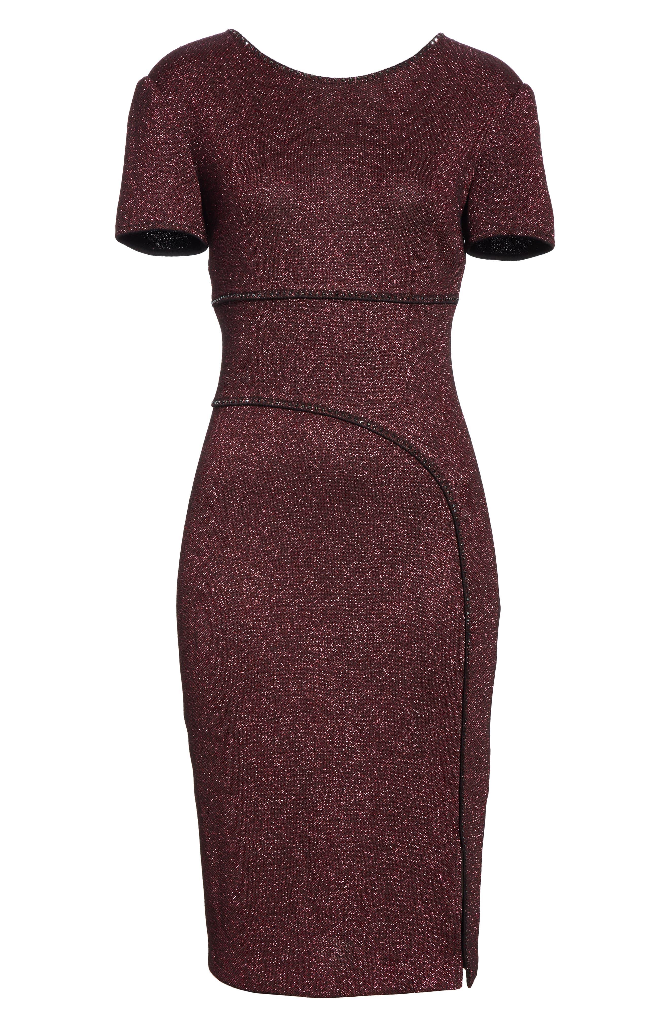 ST. JOHN COLLECTION, Mod Metallic Knit Sheath Dress, Alternate thumbnail 7, color, DARK PINK MULTI